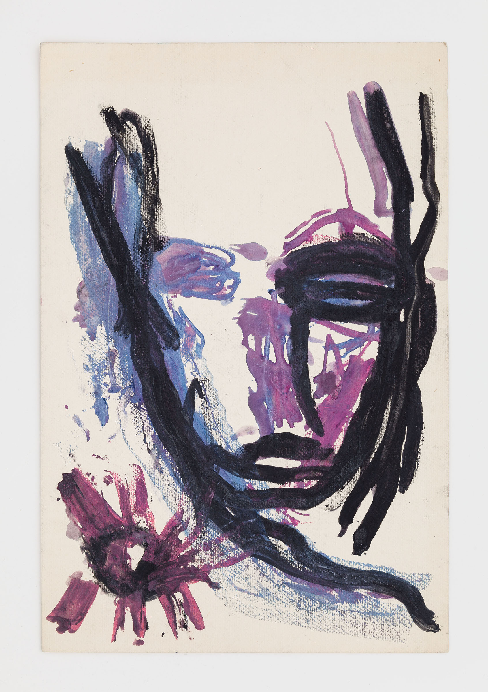 Dan Asher,  Untitled,  1980s, mixed media on paper, 18 x 12 in.
