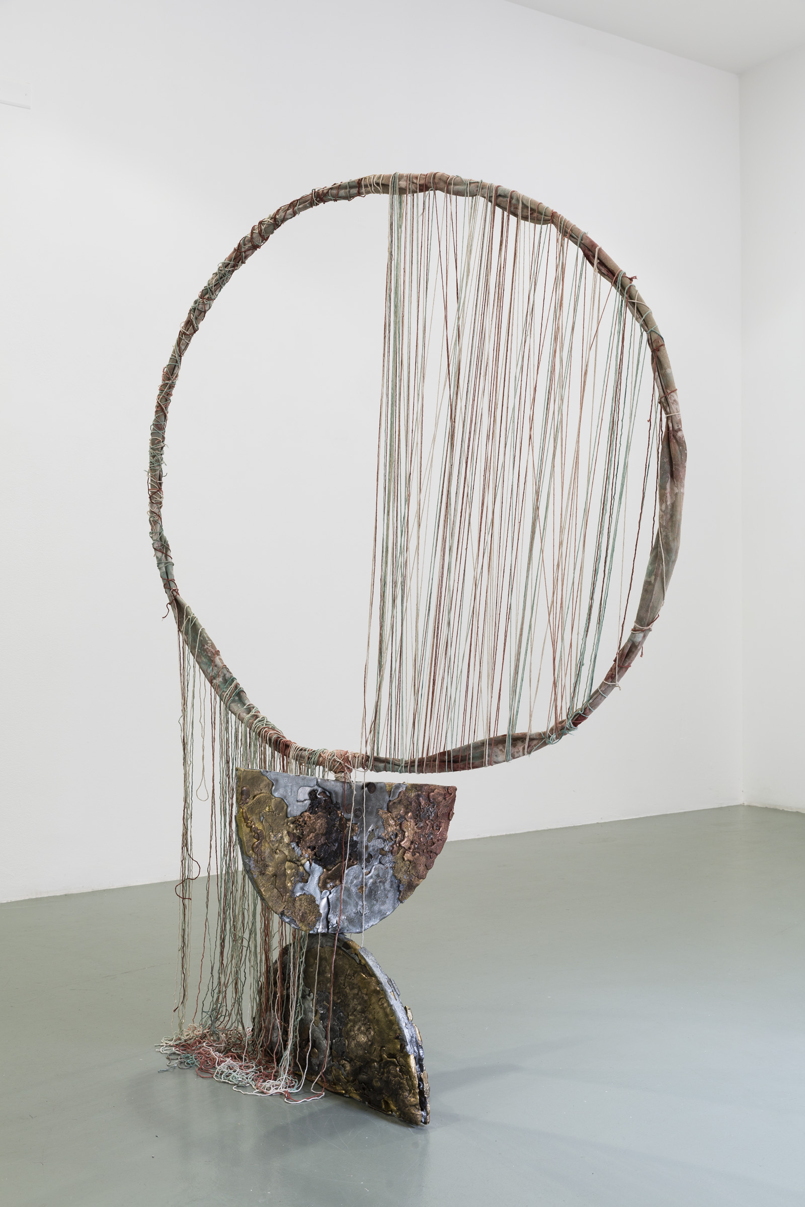 Jory Rabinovitz,  Given (Halved),  2015, melted currency, unsold sculptures, Verdigris, iron oxide, zinc white, 48 x 48 x 72 in.