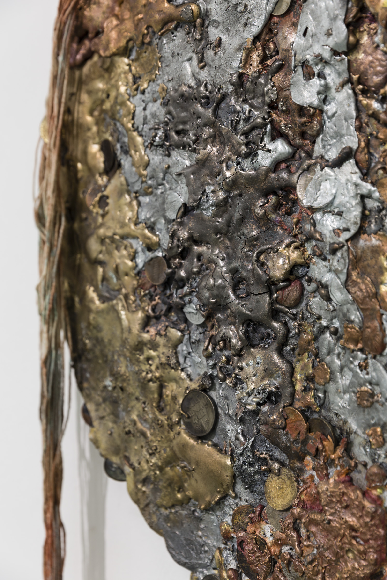Jory Rabinovitz,  Given (Halved)  (detail), 2015, melted currency, unsold sculptures, Verdigris, iron oxide, zinc white, 48 x 48 x 72 in.