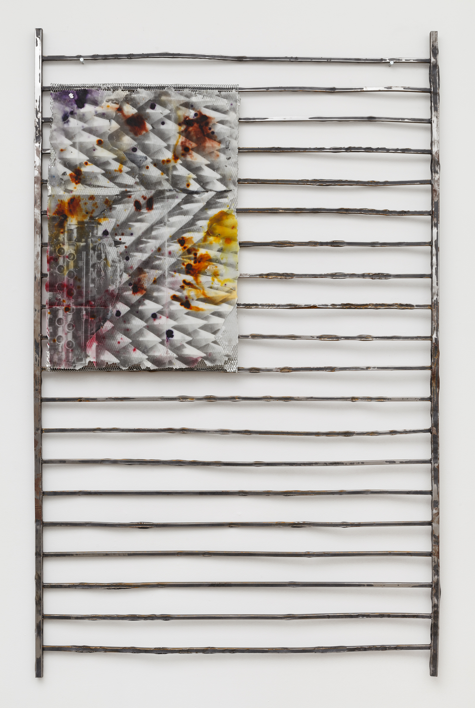 JPW3, HP, 2015, wax, wax dye, offset ink, expanded metal and steel fence, 92.5 x 58 x 1 in.