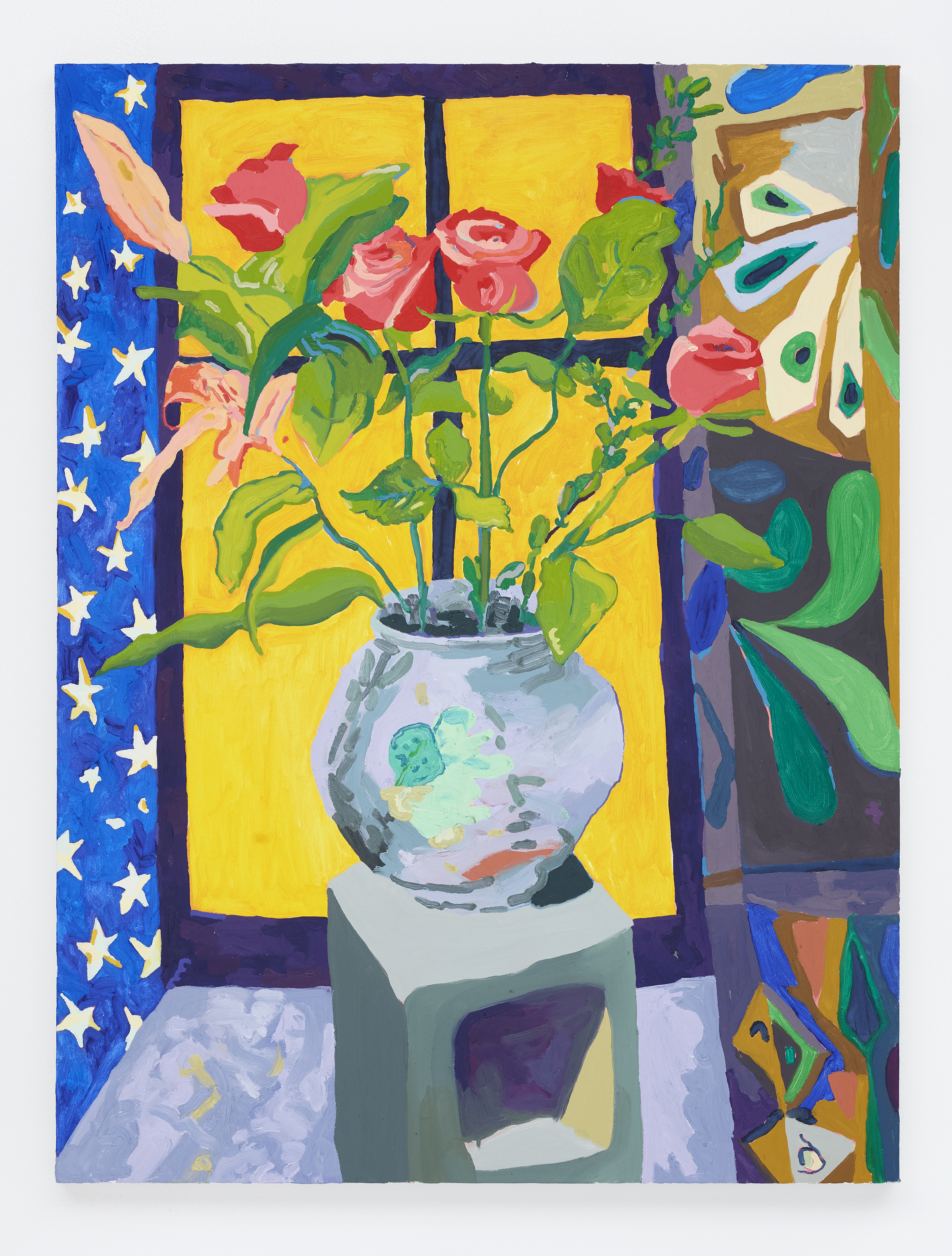 Alex Chaves,  Roses , 2016, oil on canvas, 48 x 26 in.