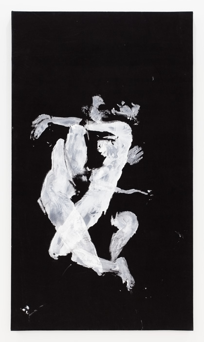 Aura Rosenberg,  Scorpio (John and Aura),  2012, acrylic paint on black velvet, 84 x 48 in.