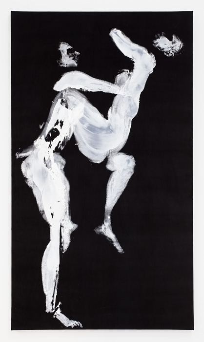 Aura Rosenberg,  Leo (Gracie and Gary),  2012, acrylic paint on black velvet, 84 x 48 in.