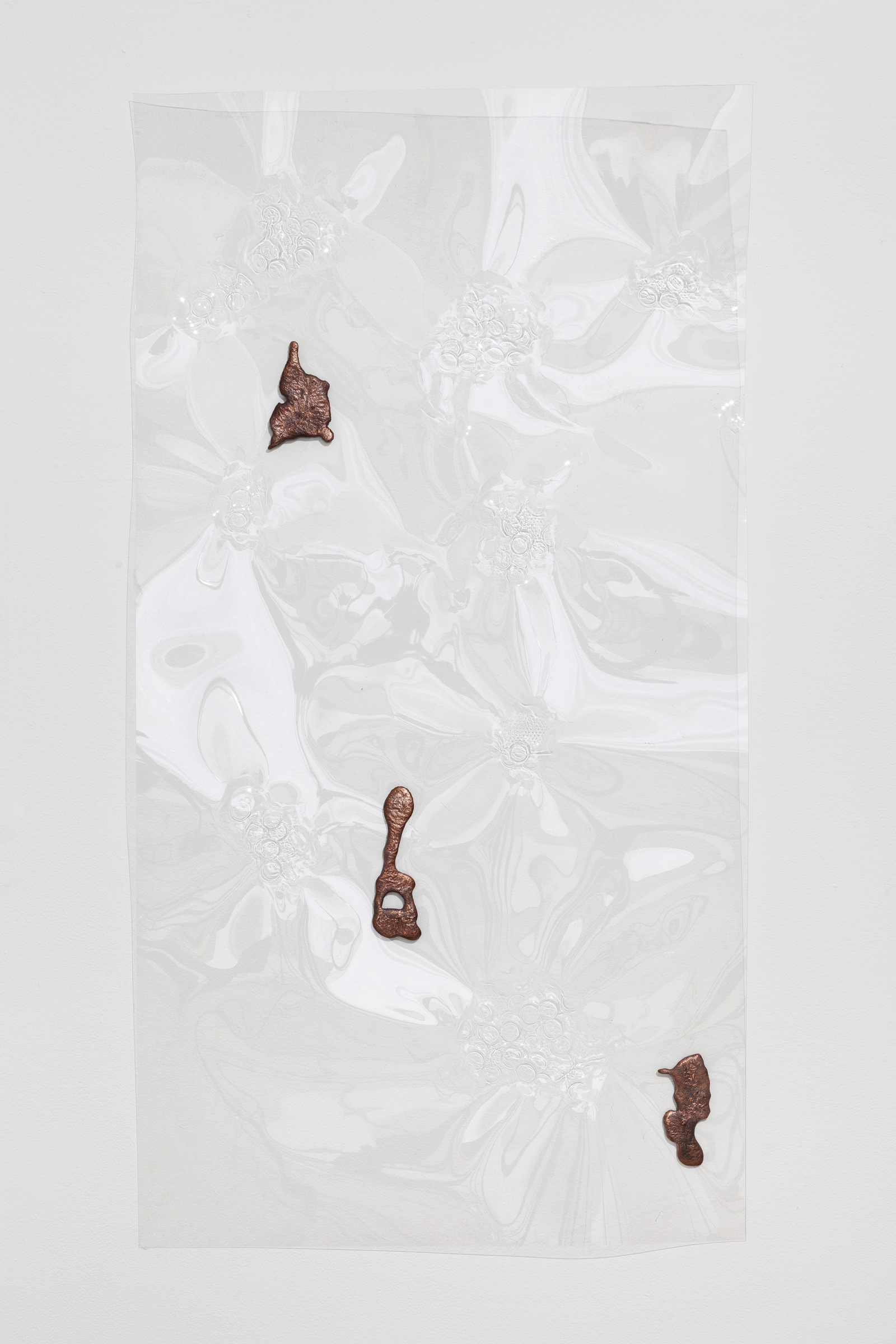 Jory Rabinovitz,  Fountain Relief 7,  2014, vacuformed plastic, melted pennies 48 x 24 in.