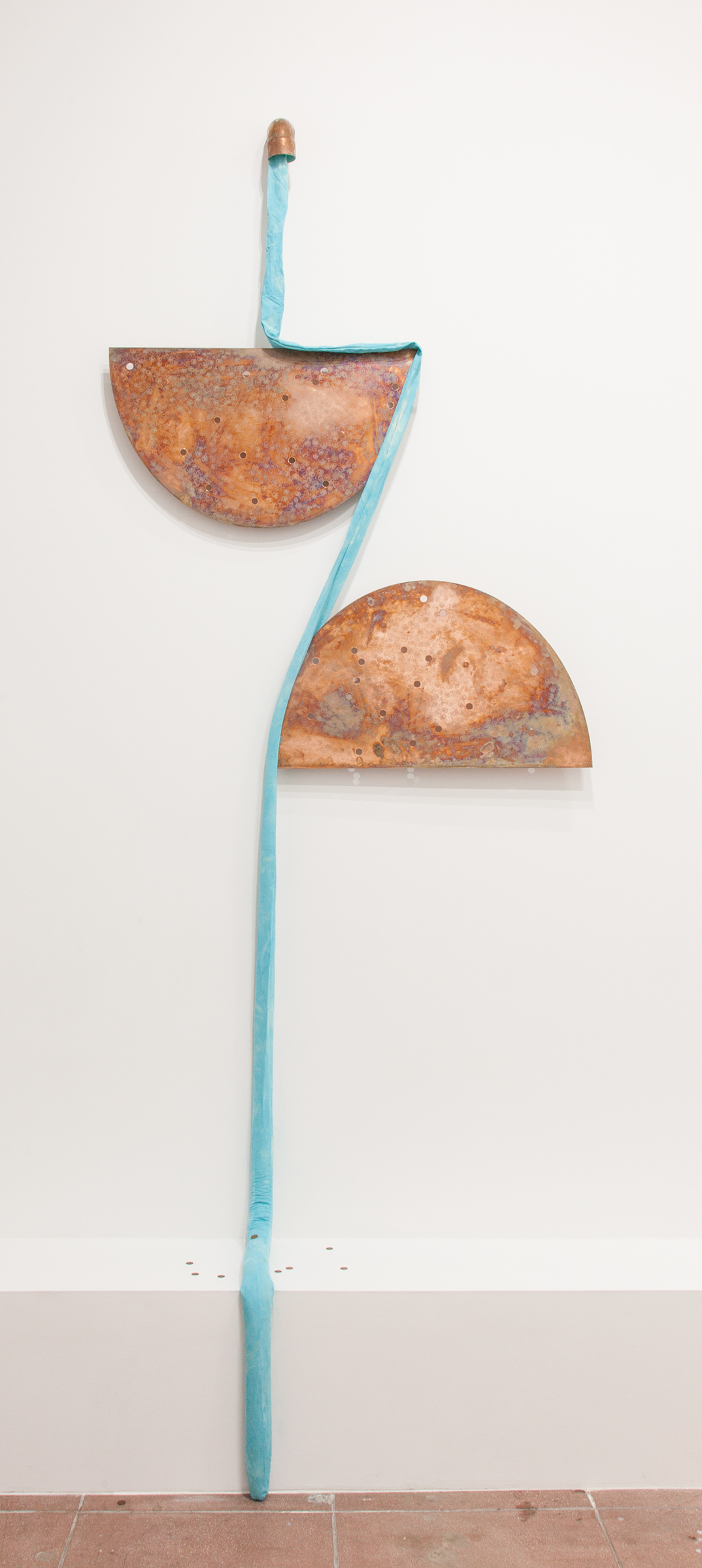 Jory Rabinovitz, EBB2 (B), 2014, melted pennies and un-melted pennies, Verdigris, fabric, rain water, Dimensions variable