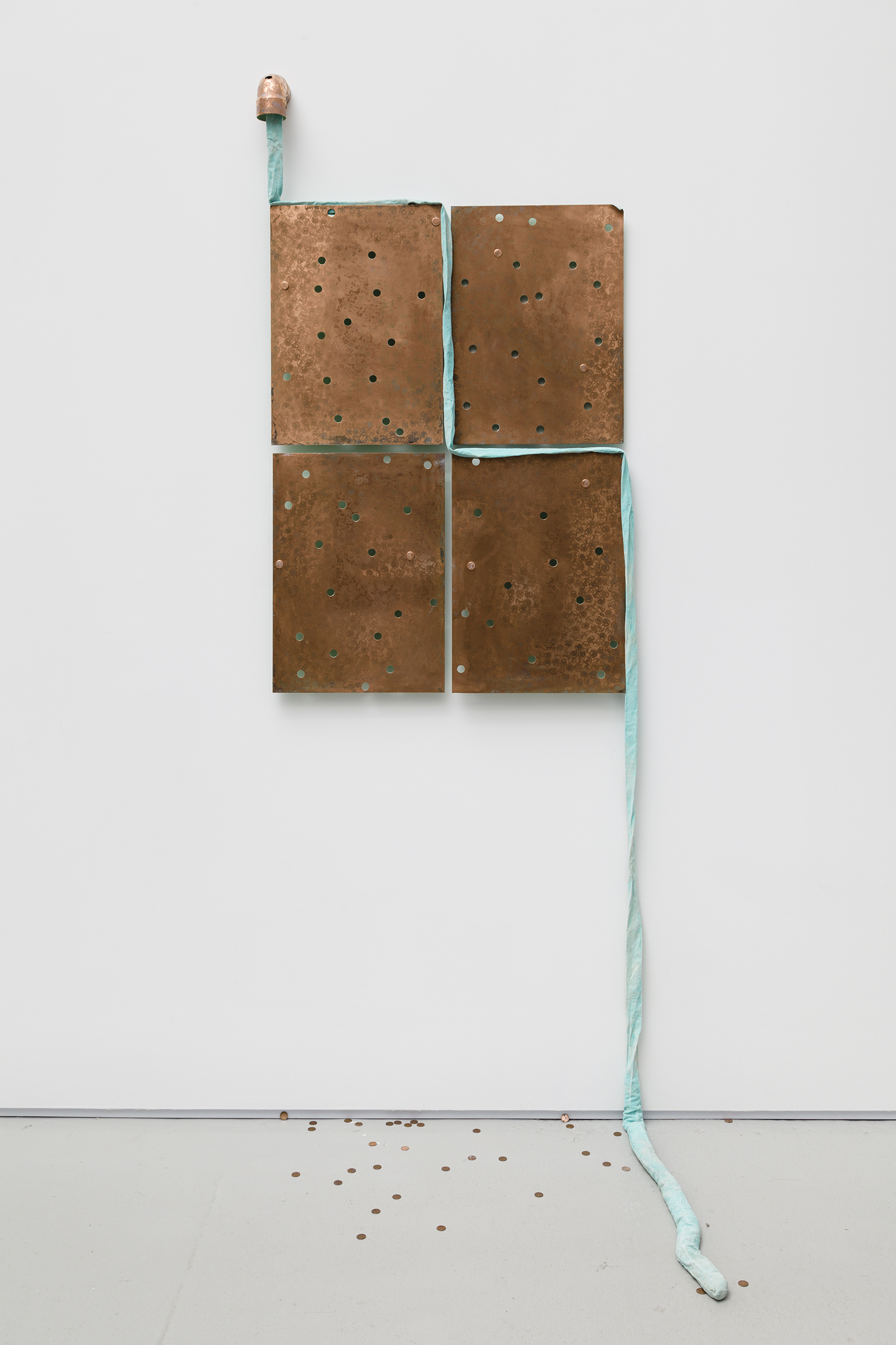Jory Rabinovitz,  Through 2,  2015, melted pennies and un-melted pennies, Verdigris Green fabric, 97.5 x 36 x 30 in.