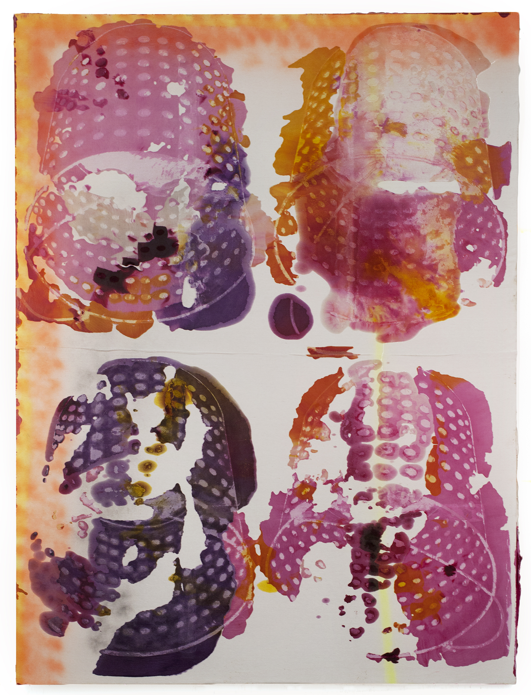 JPW3, Shadow Stamp 4, 2016, wax, dye, spray paint and Rust-Oleum on canvas, 96 x 72 in.
