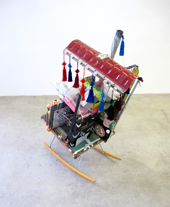 Justin Lieberman, Rocking House with Points of Reference (from New Homes for America), 2011, mixed media,45 x 30 x 25 in.