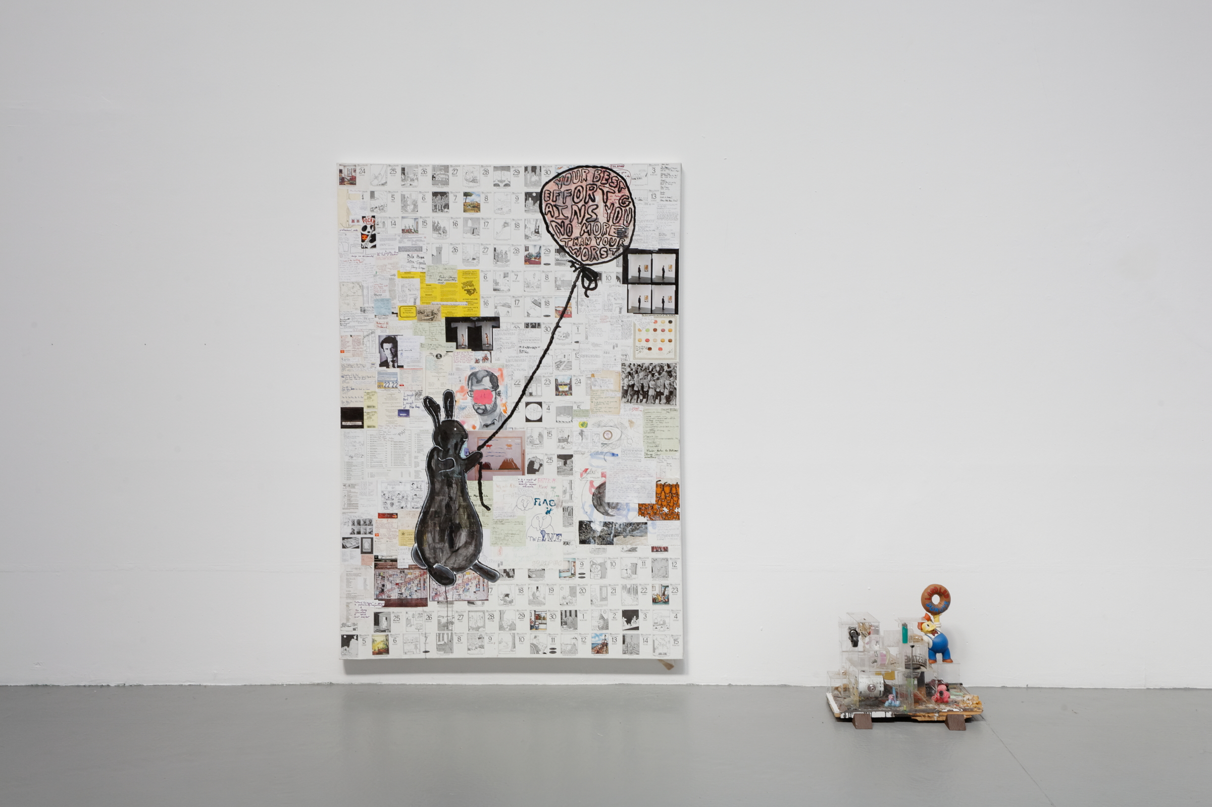 Justin Lieberman, Pat the Bunny Pop. 1280 (Super Supplemental), 2011, mixed media on canvas, 85 x 61.5 in; Storygon Studio Model, 2012, mixed media, dimensions variable