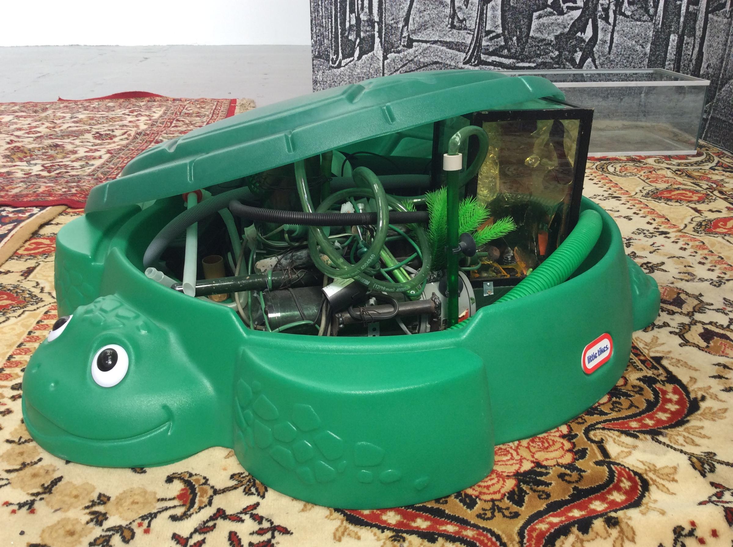 Justin Lieberman, Becoming Machine,  2015, aquarium supplies, Little Tykes turtle sandbox,43.25 x 38.75 x 12.00 in.