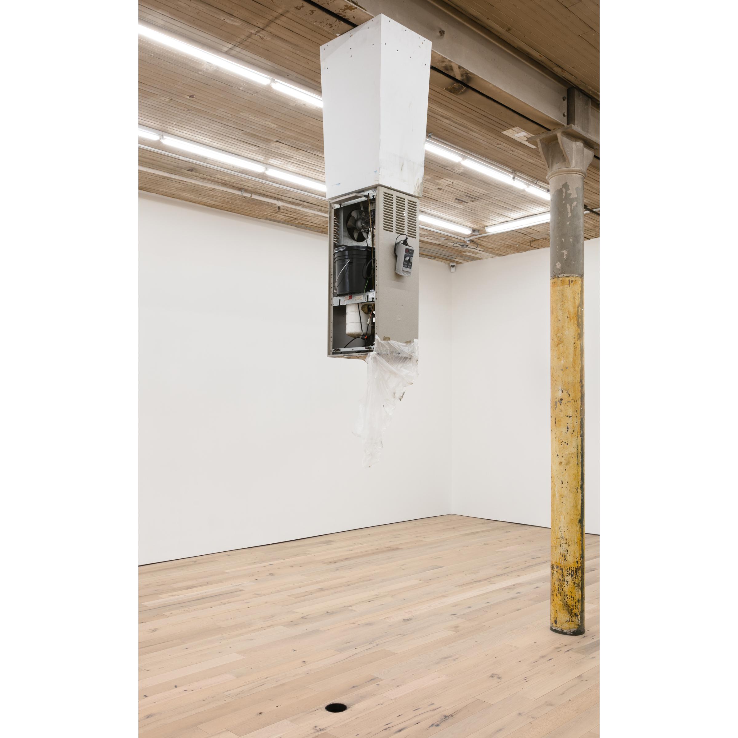 Pope.L, Pedestal , 2017, acrylic paint, drain, Elkay drinking fountain #EFA201F, hardware, hole, photo timer, plastic pail, plastic sheeting, solenoid, tape, tubing, and wood, dimensions variable