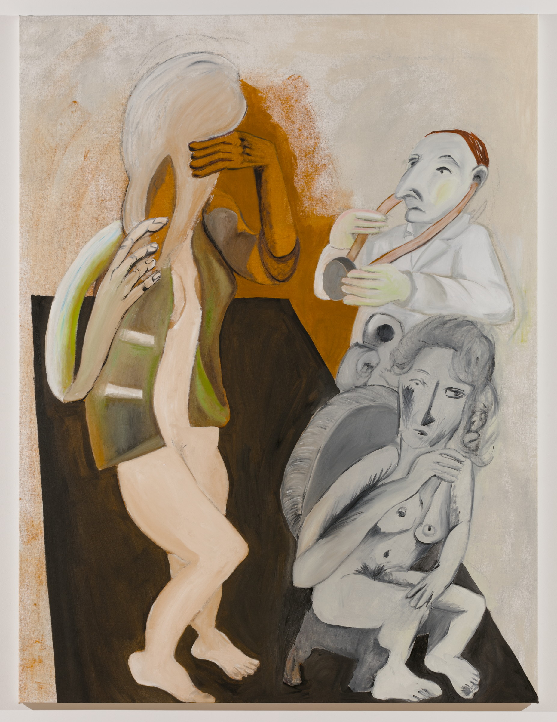 Sofi Brazzeal,  Untitled (doctor, seated woman and woman with hairbrush 1),  2016, oil and acrylic on canvas, 72 x 54 in