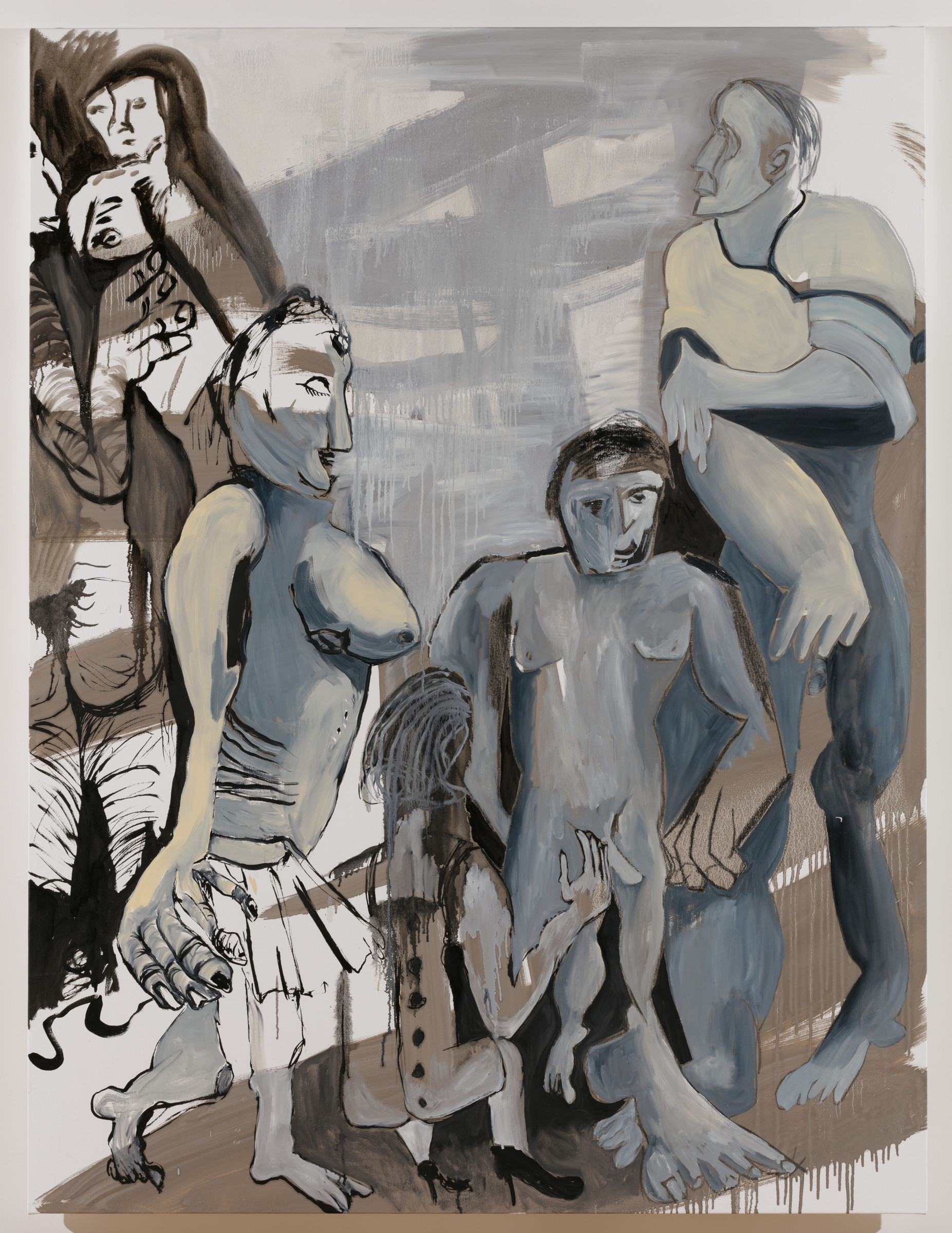 Sofi Brazzeal,  Untitled (group in grayscale) , 2017, oil, pencil and grease pencil on canvas, 72 x 54 in.