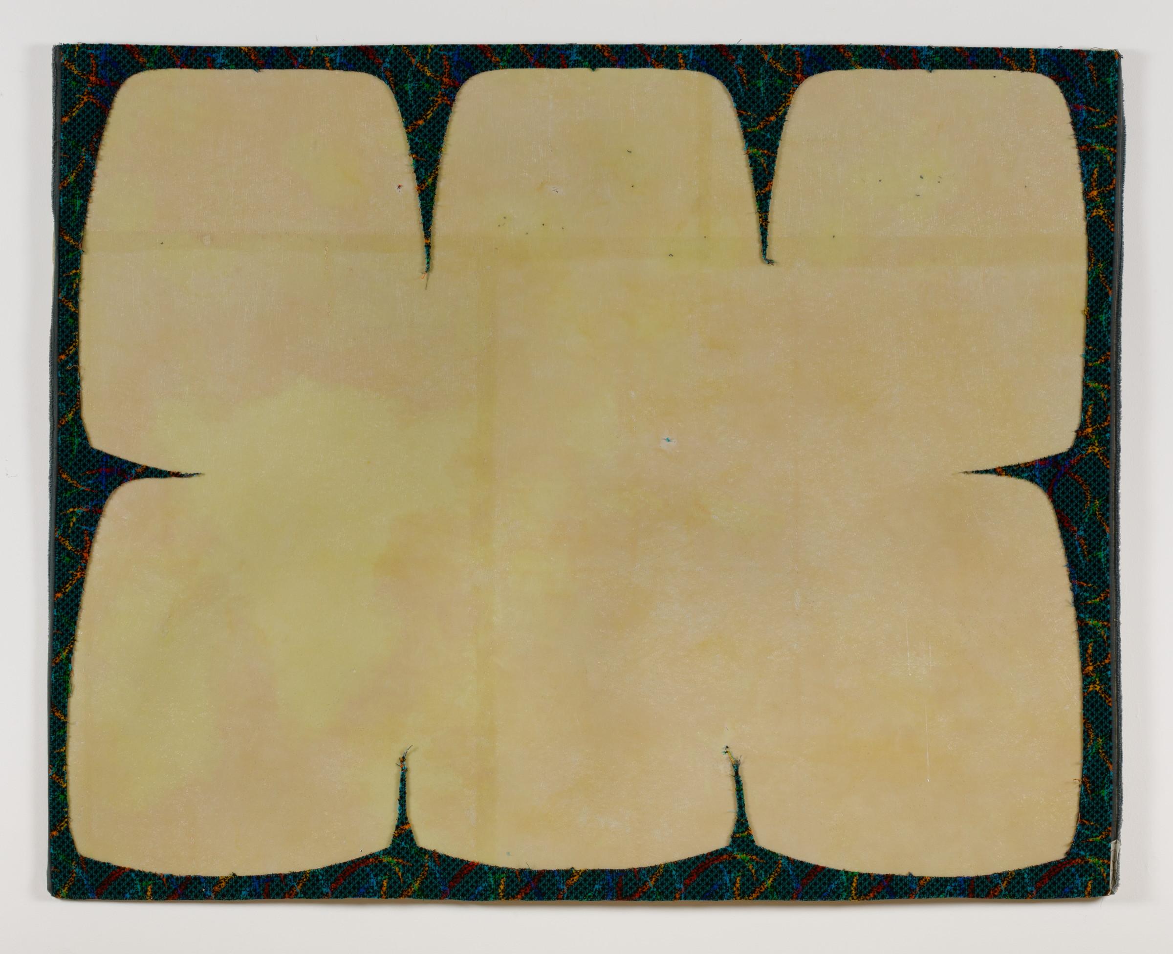 Jessica Vaughn,  Arcs Blue,  2016, upholstery scrap on fiberglass panel, 52 x 50 x ¼ in.
