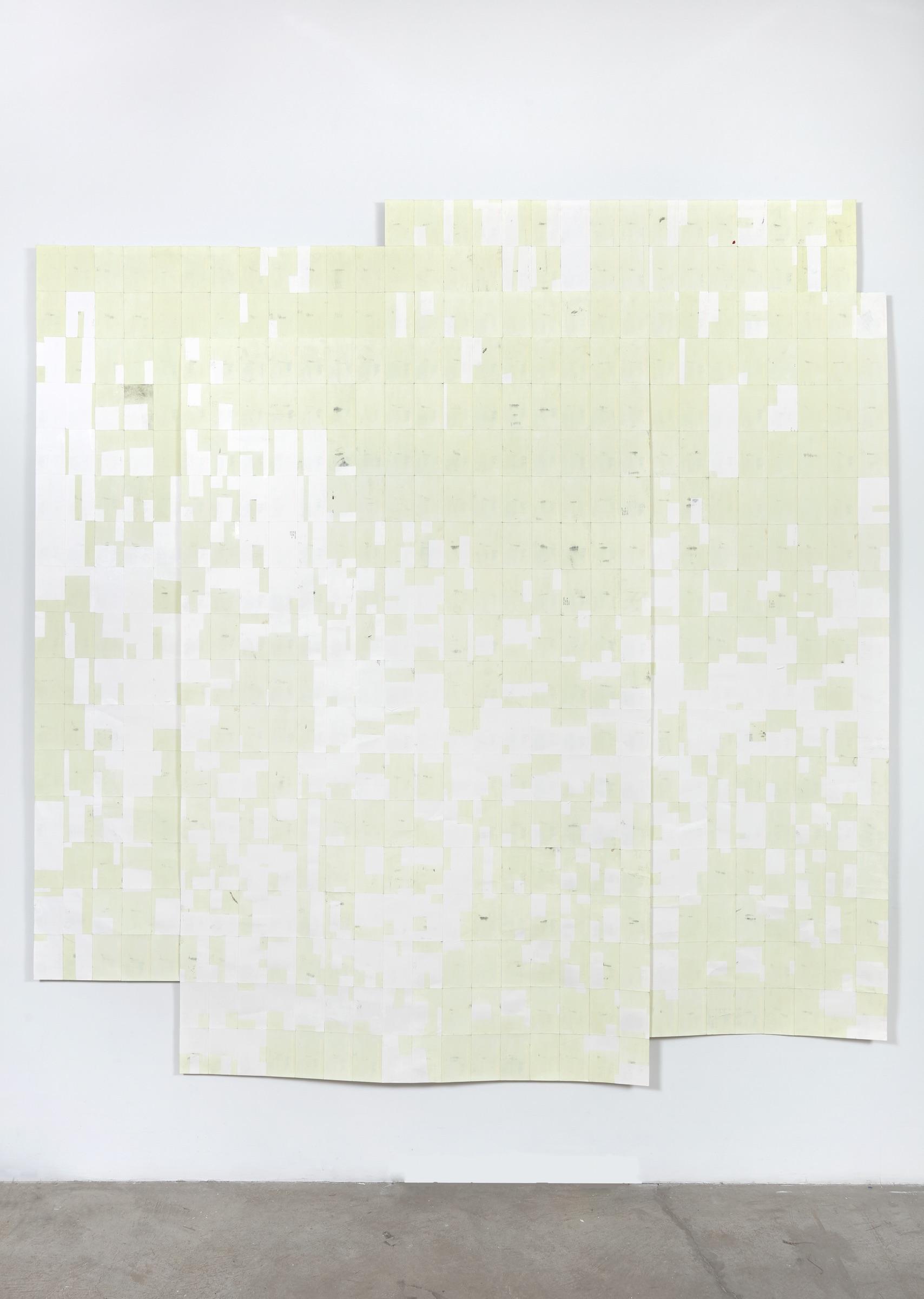Agnes Lux, Hiver ete lies #1 , 2016, phosphorescent paint on postcards, 104.72 × 101.4 in. (light view)