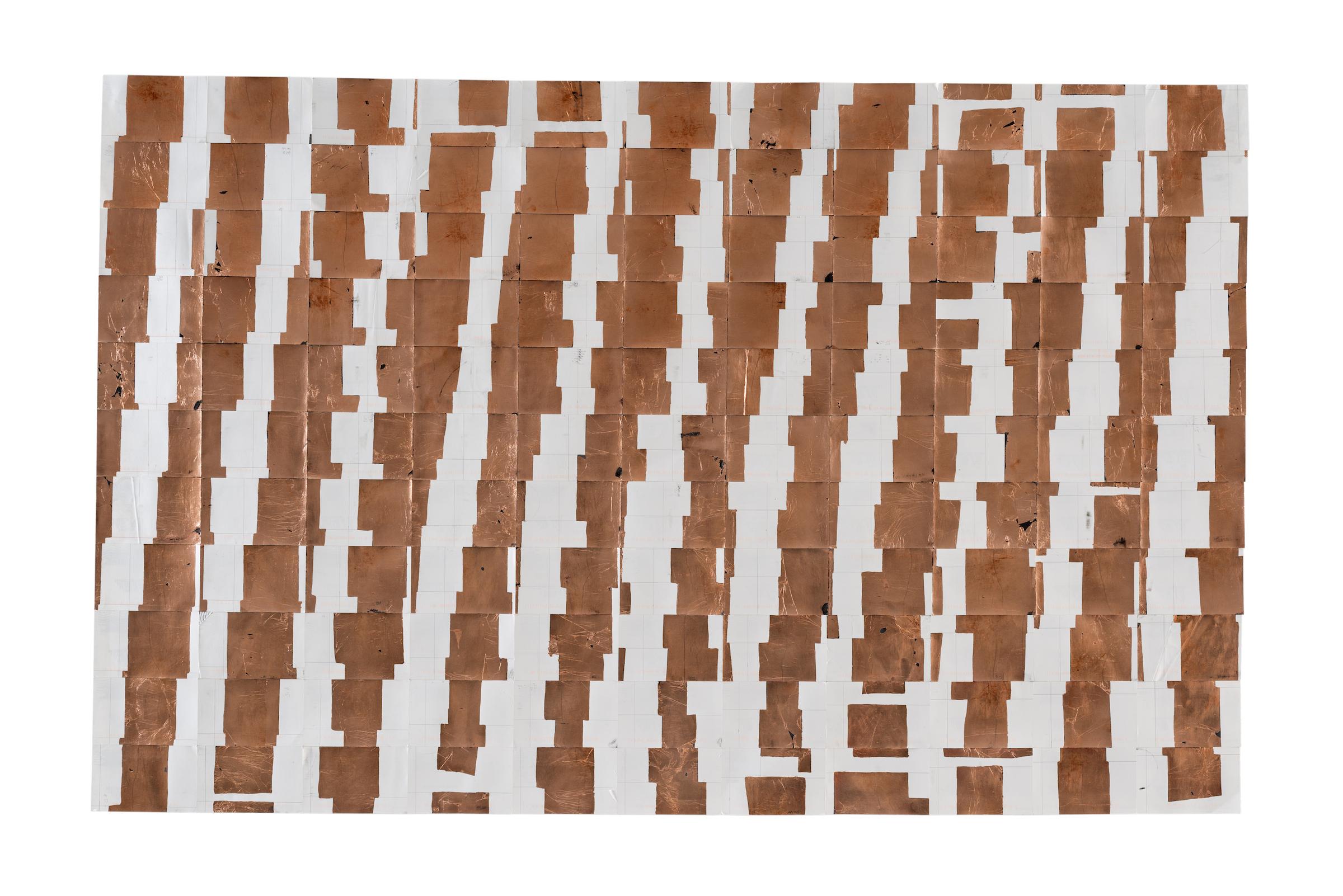 Agnes Lux,   #37-2 , 2014, postcards, graphite and copper, 38.5 × 60.6 in.