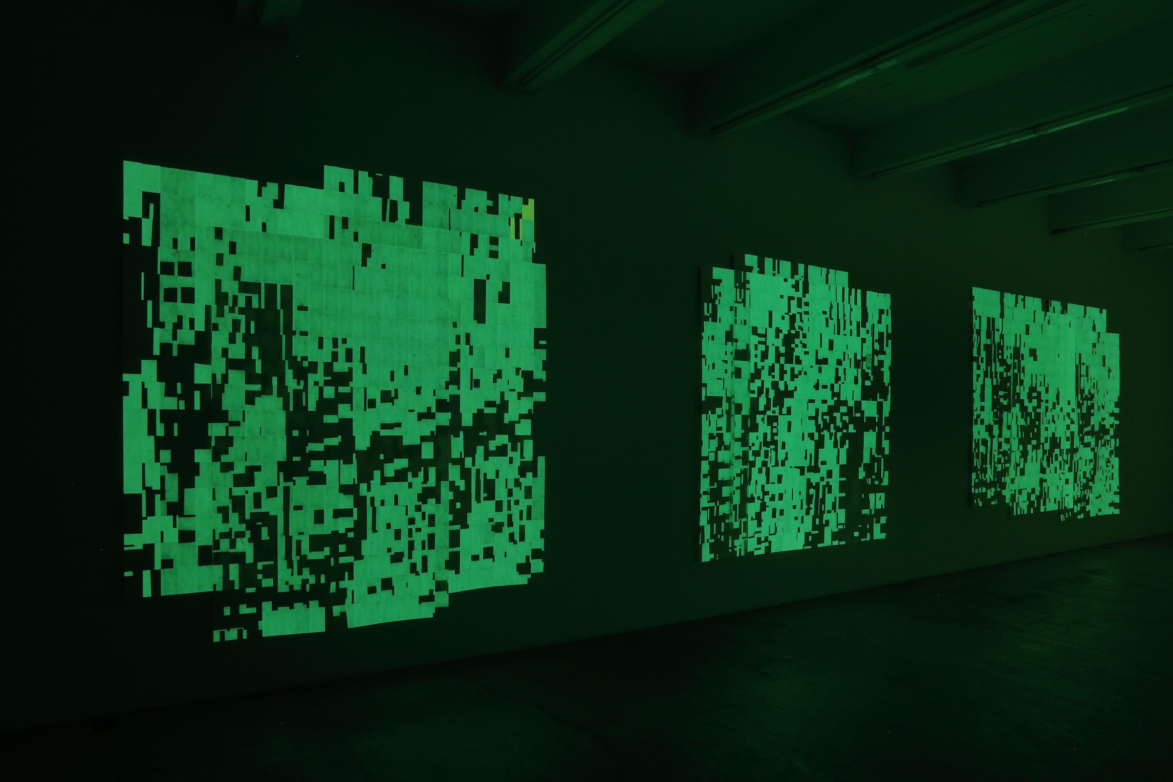 Installation view (dark), Winter, summer together, Martos Gallery, New York, 2016