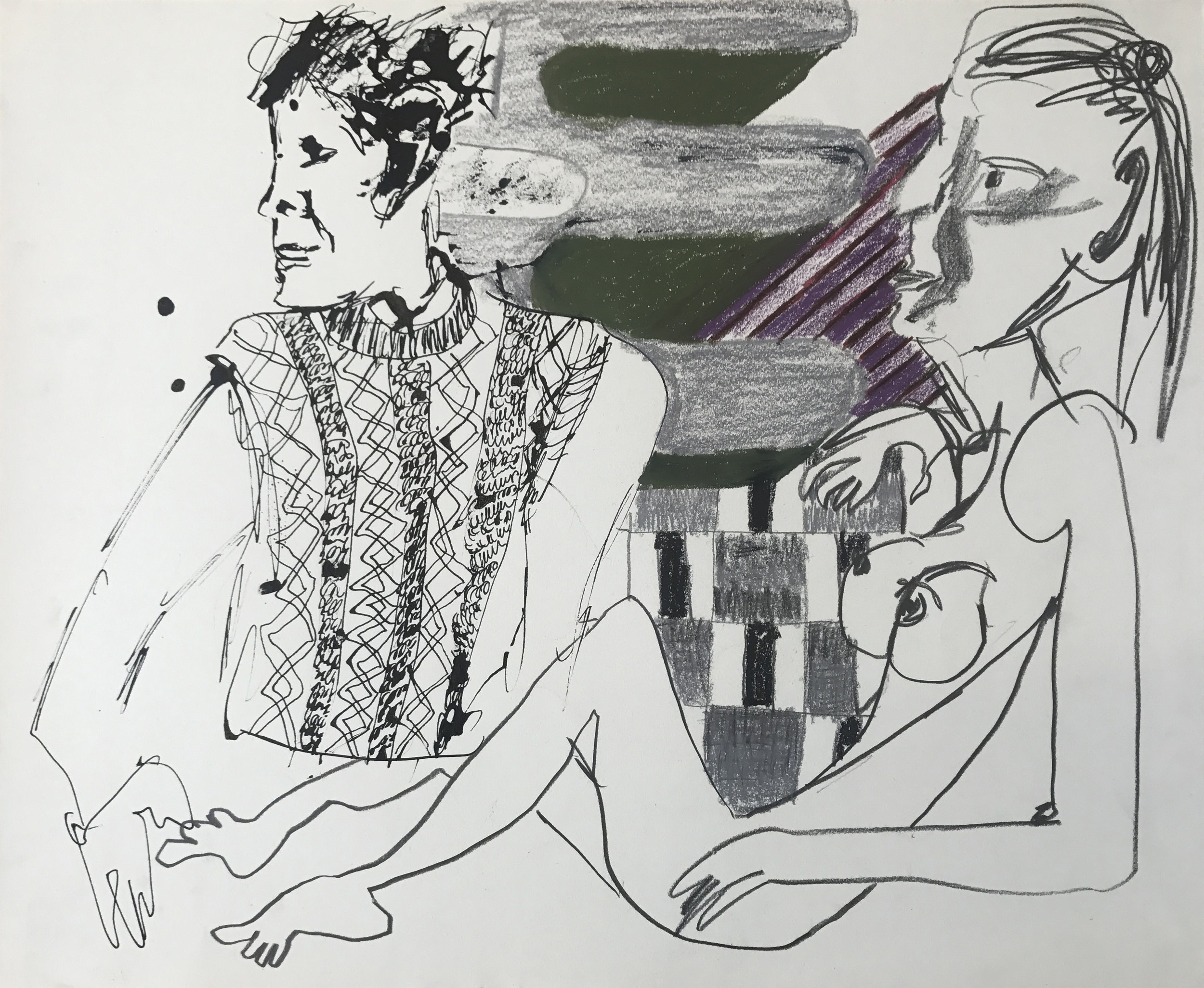 Sofi Brazzeal,  Untitled (figures with knit sweater and pattern), 2 016, ink, pencil and color pencil on paper, 14 x 17 in.