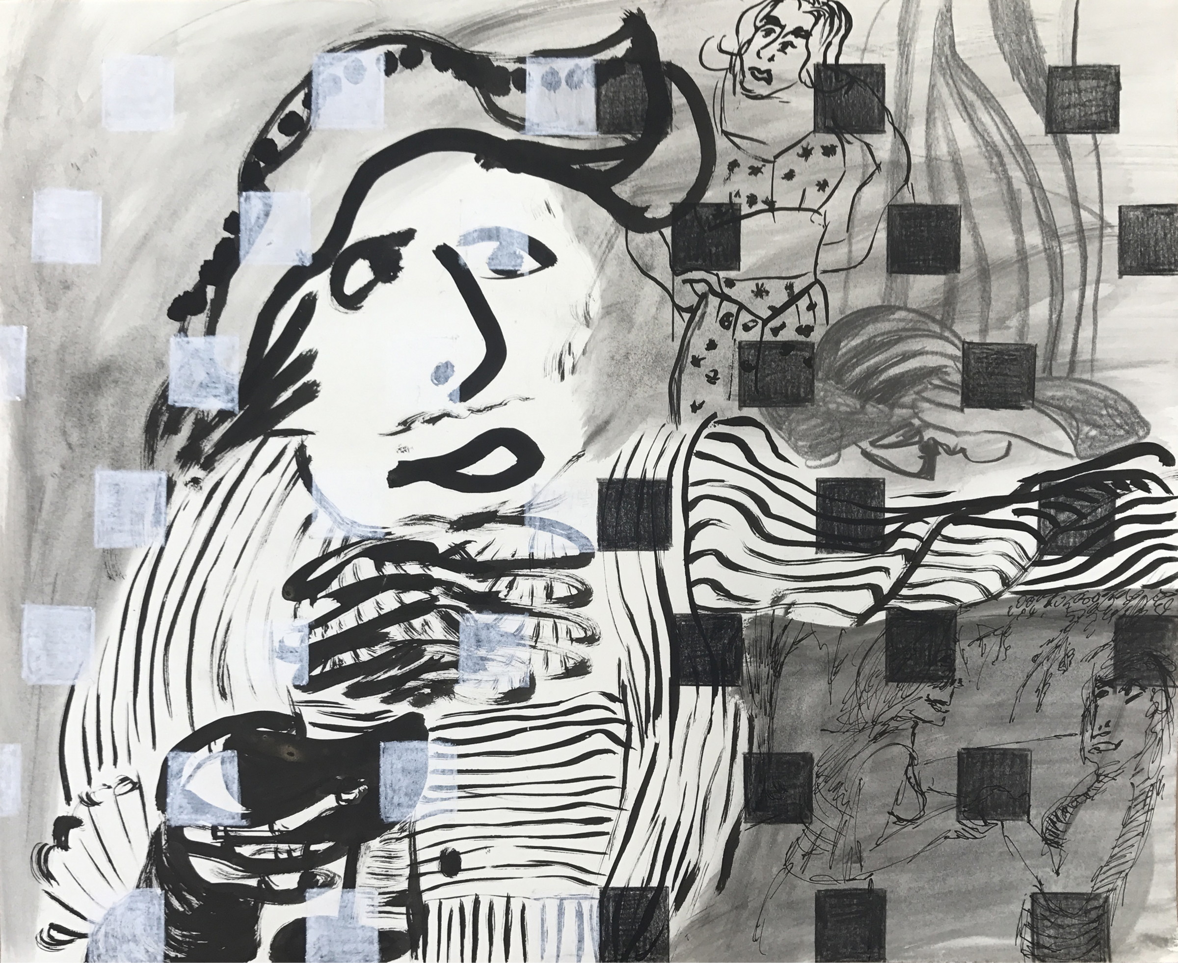Sofi Brazzeal,  Untitled (figure with striped shirt and squares), 2 015, ink, charcoal, color pencil, pencil and oil pastel on paper, 14 x 17 in.