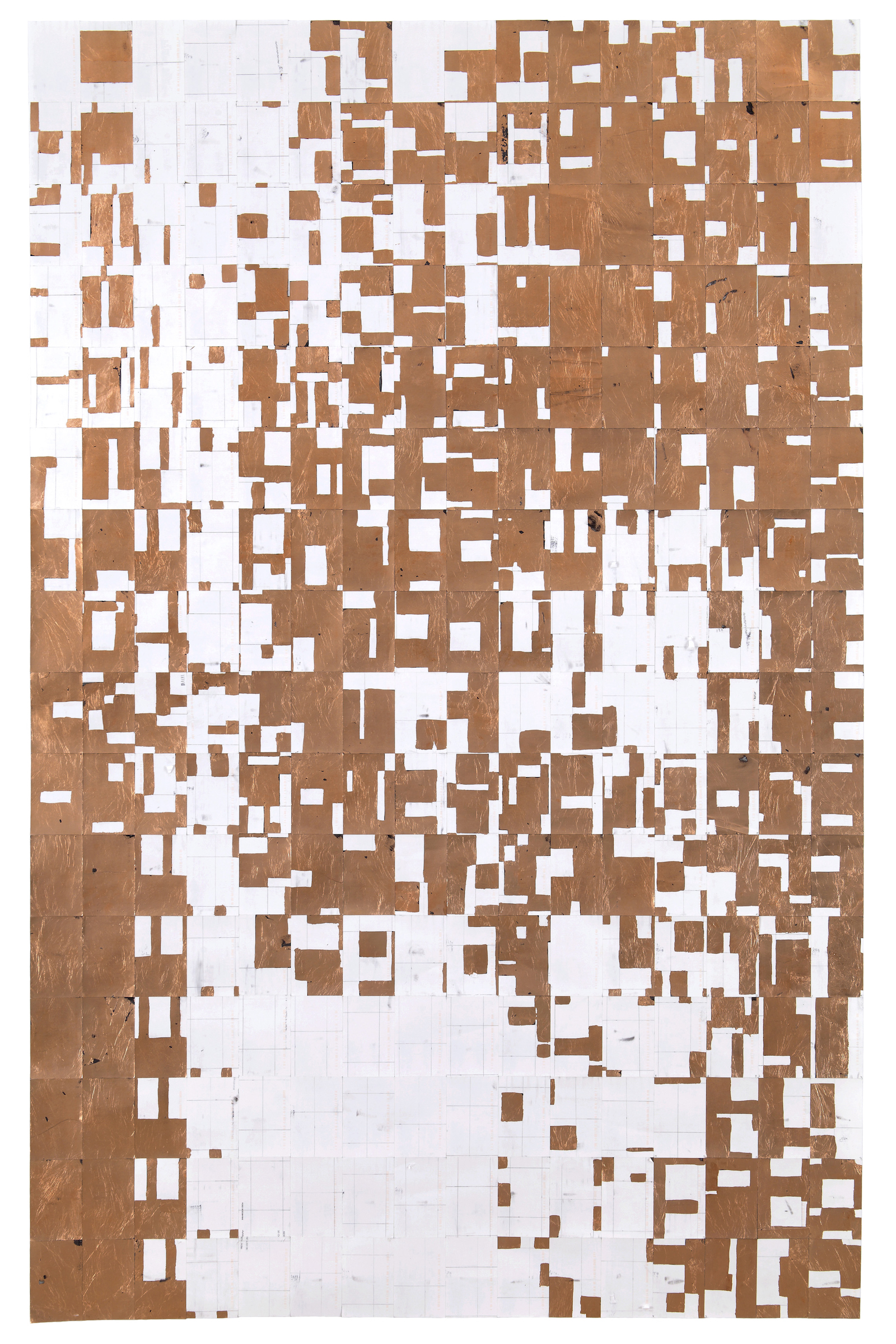 Agnes Lux,   #91-C-0 , 2013, postcards, graphite and copper, 88.2 × 56 in.