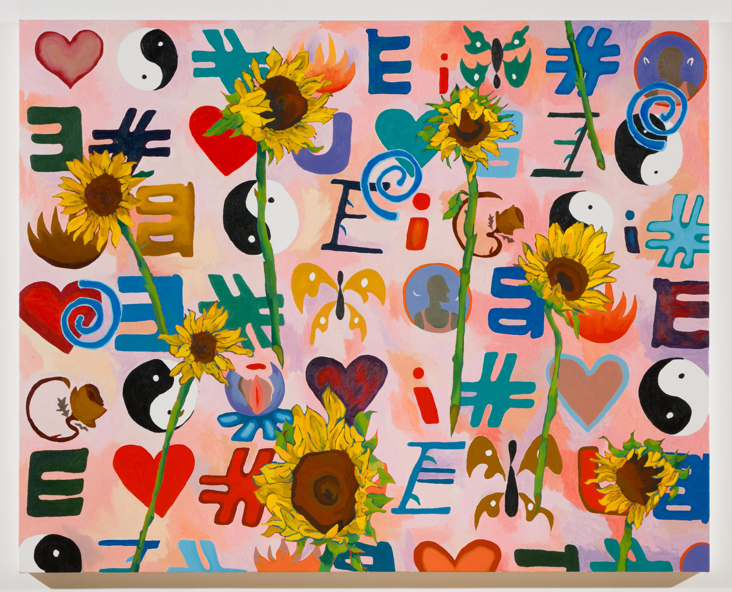 Alex Chaves,    Emoticon (sunflower) , 2017, oil on canvas, 48 x 60 in.