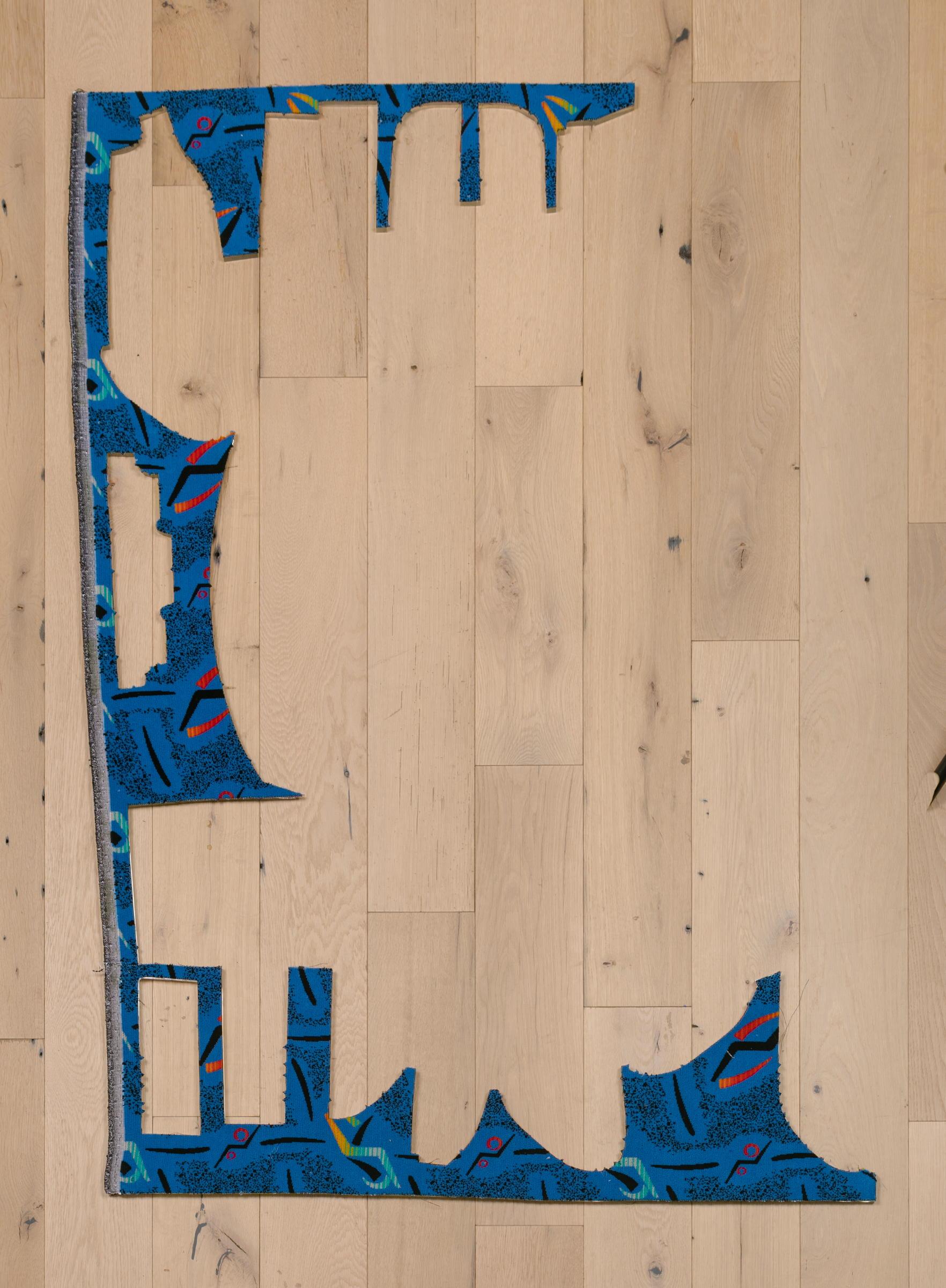 Jessica Vaughn,   Boomer Blue No.340 #2 , 2017, fabric scraps procured from manufacturer (09/2015-11/2016) on plexi, 62 × 42 × ½ in.