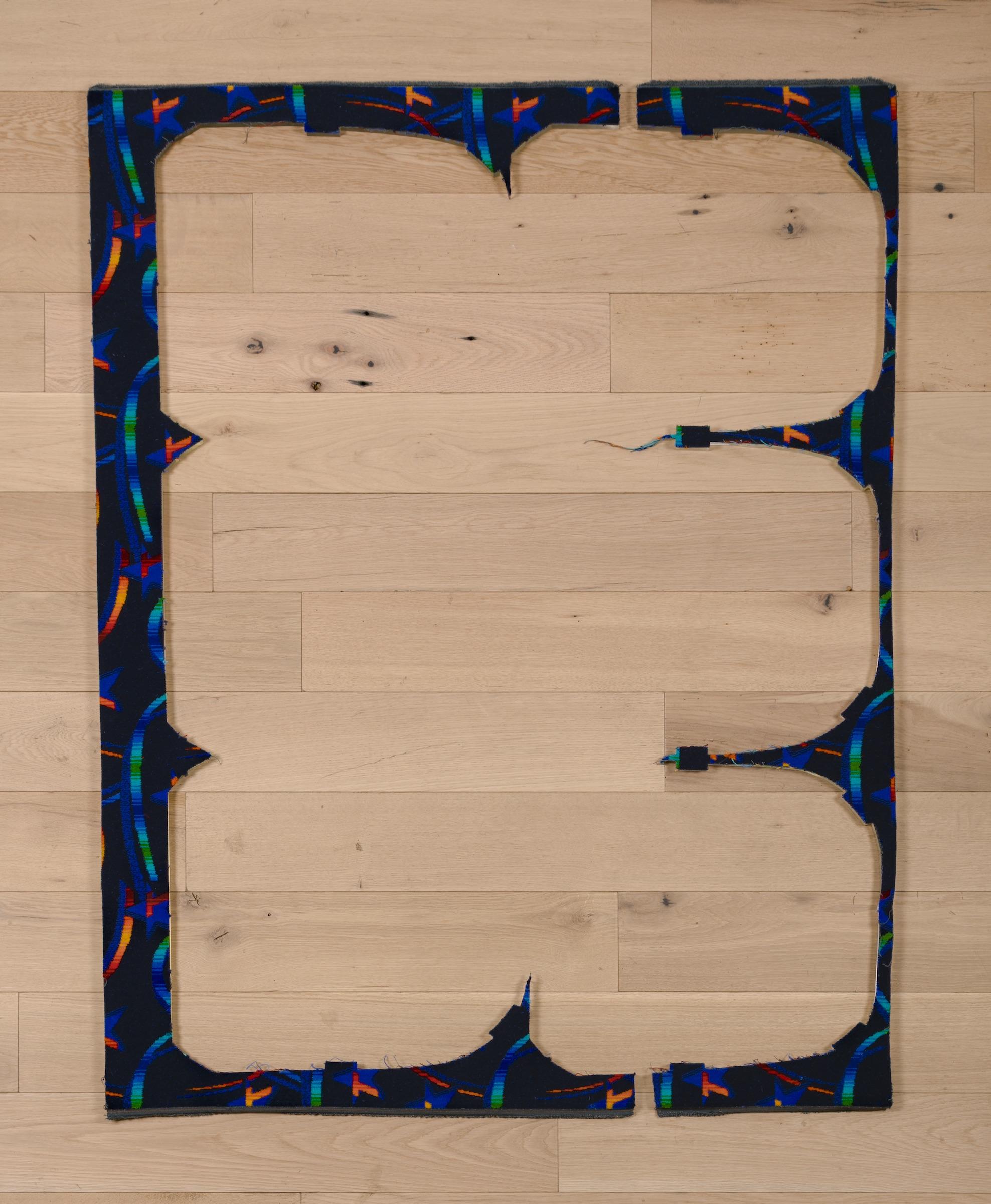 Jessica Vaughn, Untitled (Dark Blue), #2 , 2017, fabric scraps procured from manufacturer (09/2015-11/2016) on plexi, 61 ½ × 24 × ½ in.
