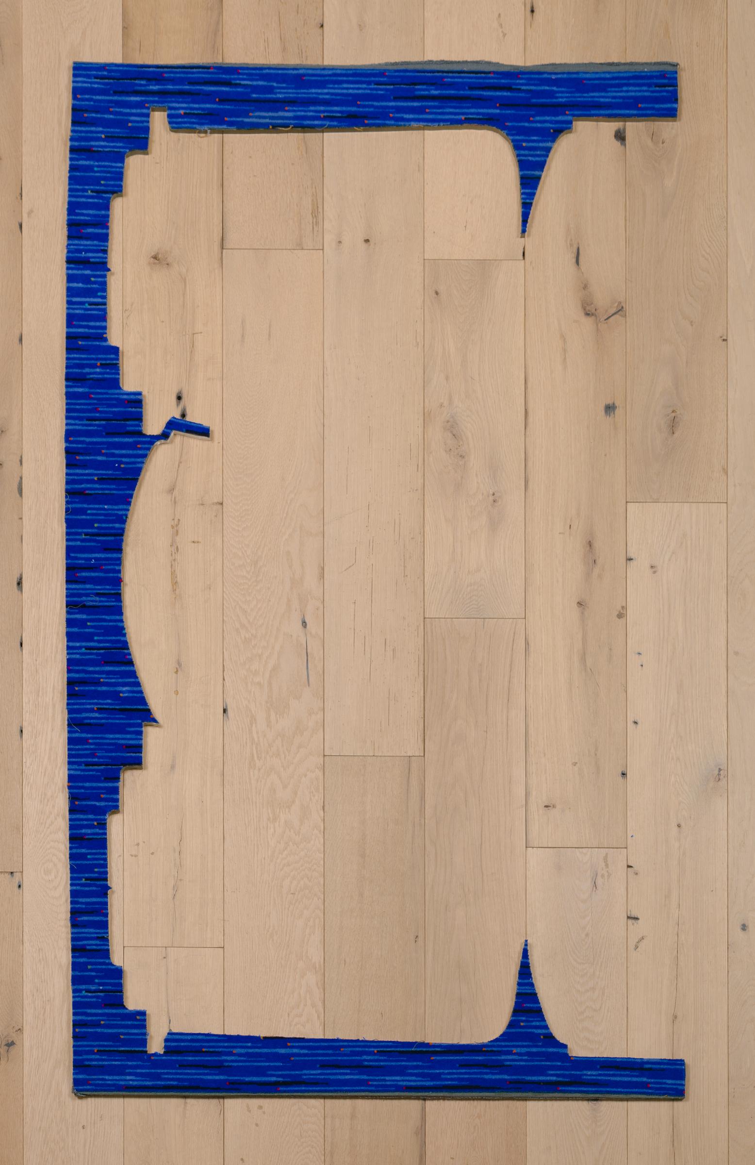 Jessica Vaughn, Untitled (Carbon Blue) , 2017, fabric scraps procured from manufacturer (09/2015-11/2016) on plexi, 61 × 36 ½ × ½ in.