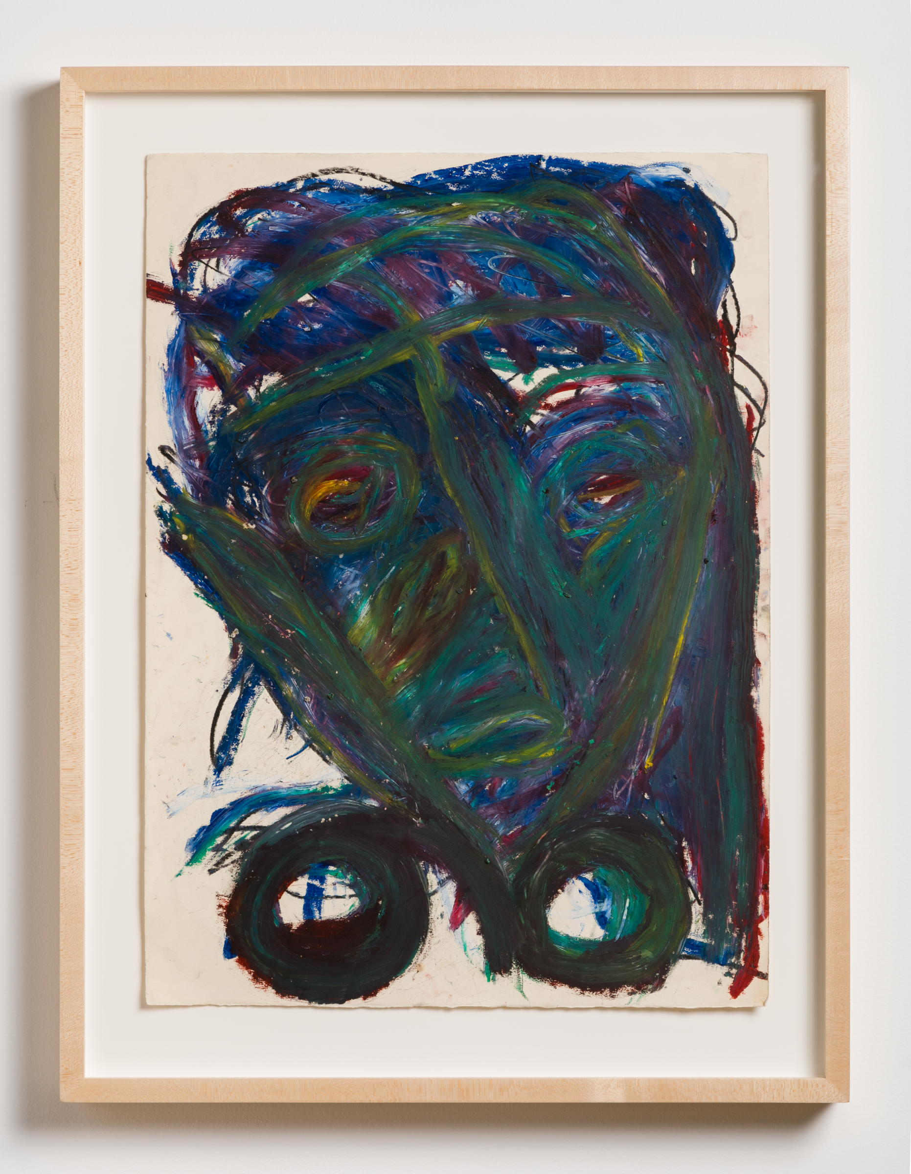 Dan Asher,    Untitled , 1980s, oil stick on paper, 25 ⅞ × 18 ⅞ in., 31 ½ × 24 in. (framed)