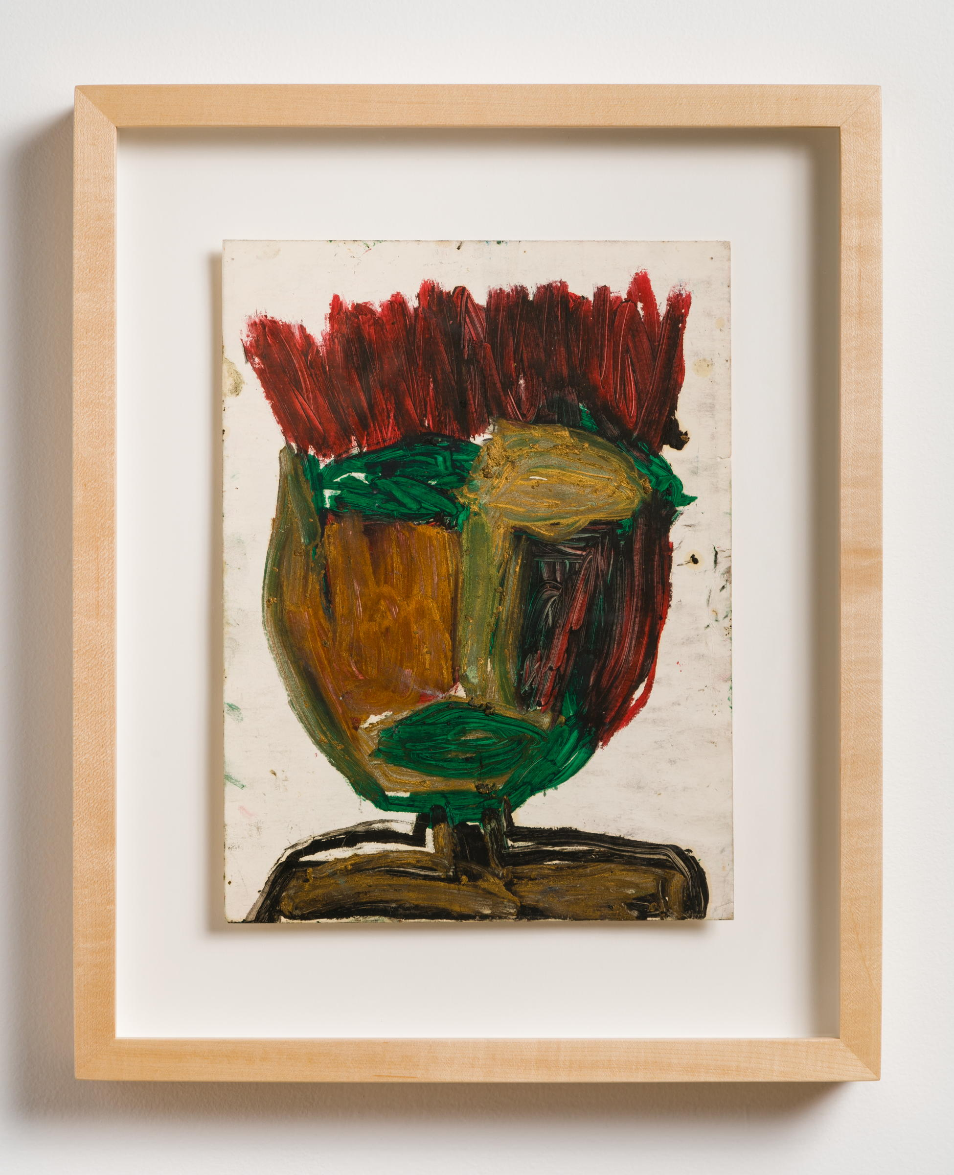 Dan Asher,    Untitled , 1980s, oil stick on paper, 11 ⅞ × 8 ⅞ in., 17 ¼ × 14 in. (framed)