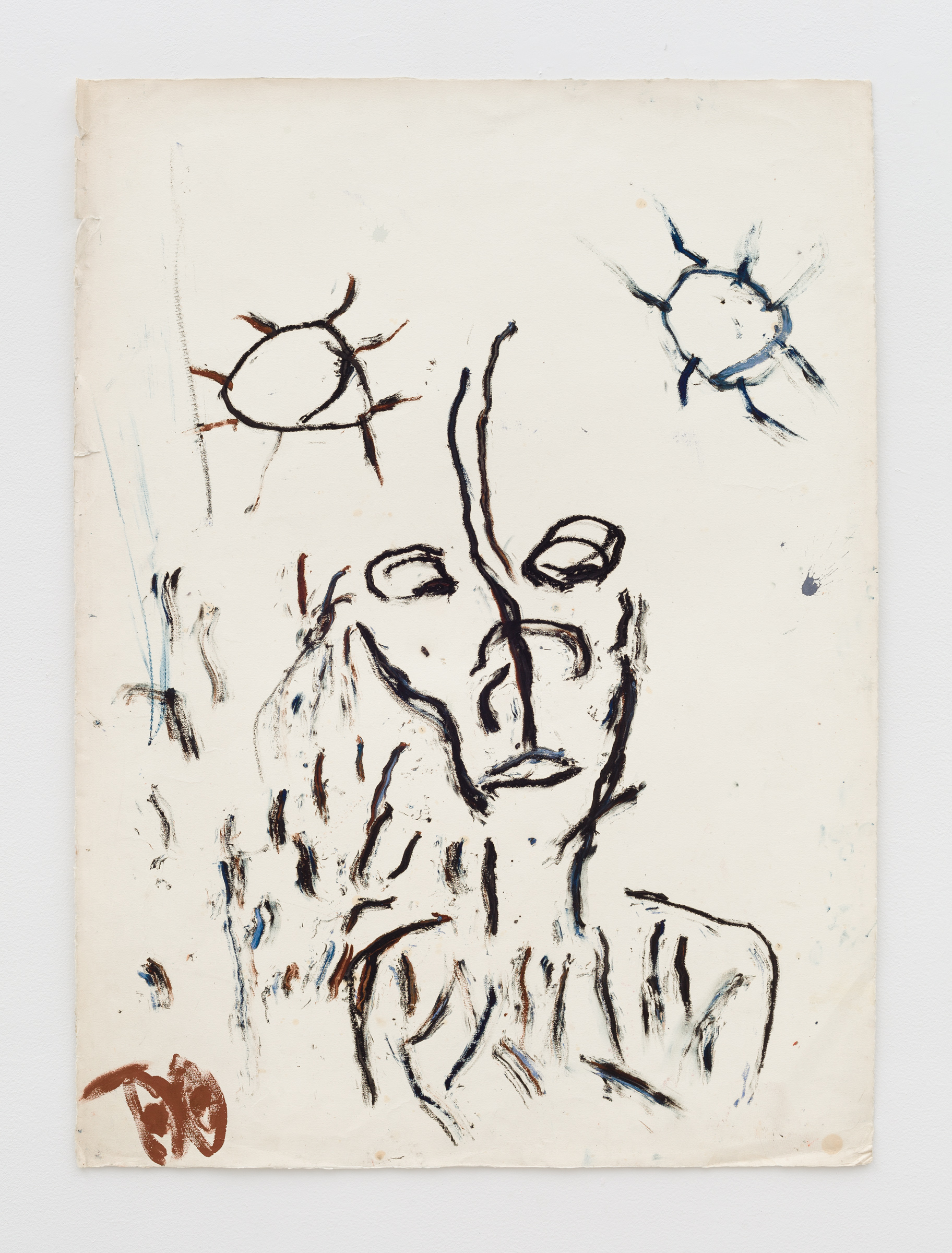 Dan Asher,    Untitled , 1980s, oil stick on paper, 42 × 30 ¾ in., 45 ⅛ × 33 ¾ in. (framed)