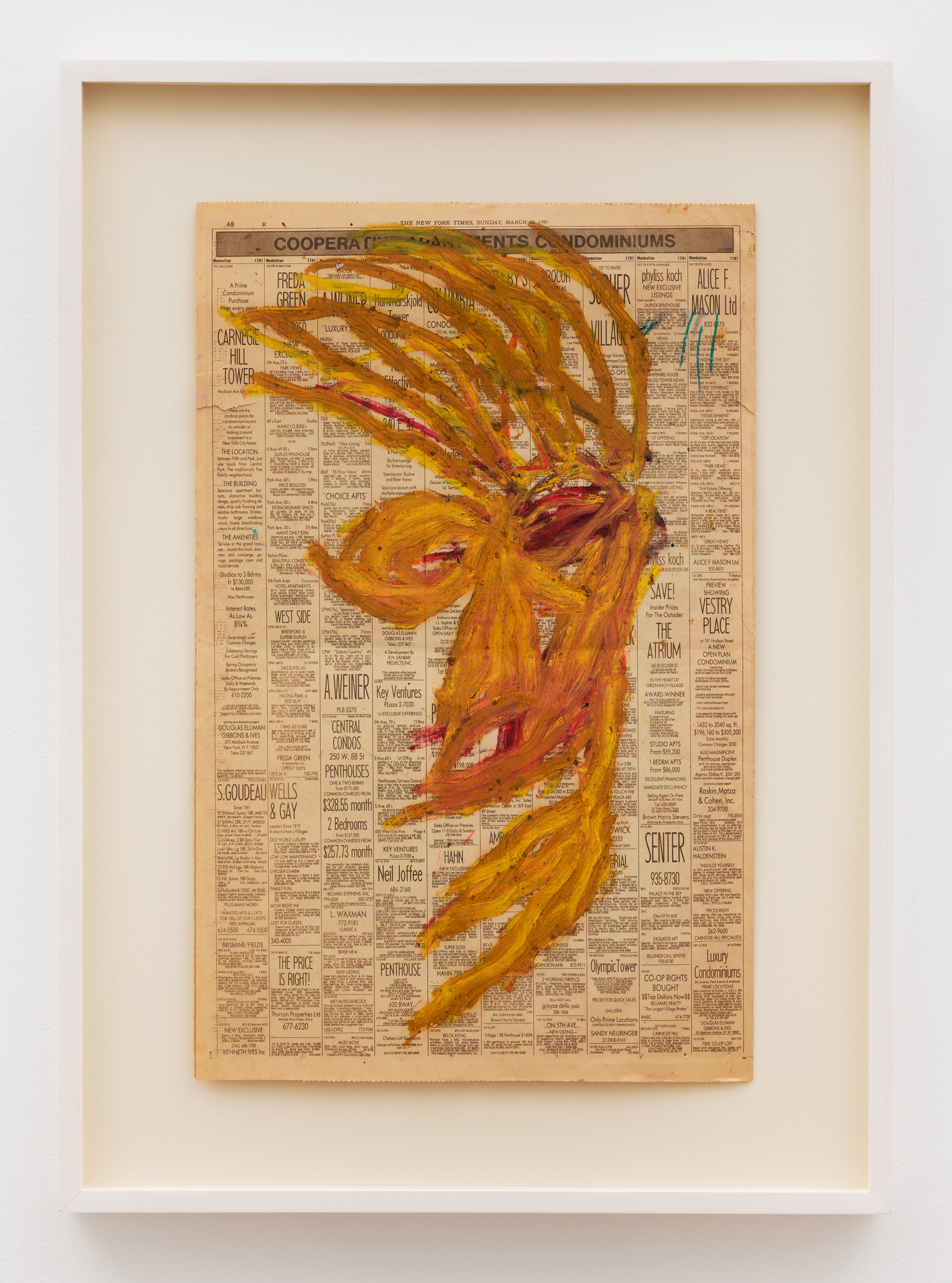 Dan Asher,    Untitled , 1983, oil stick on newsprint, 22 ½ × 14 ½ in., 29 × 20 ⅞ in. (framed)