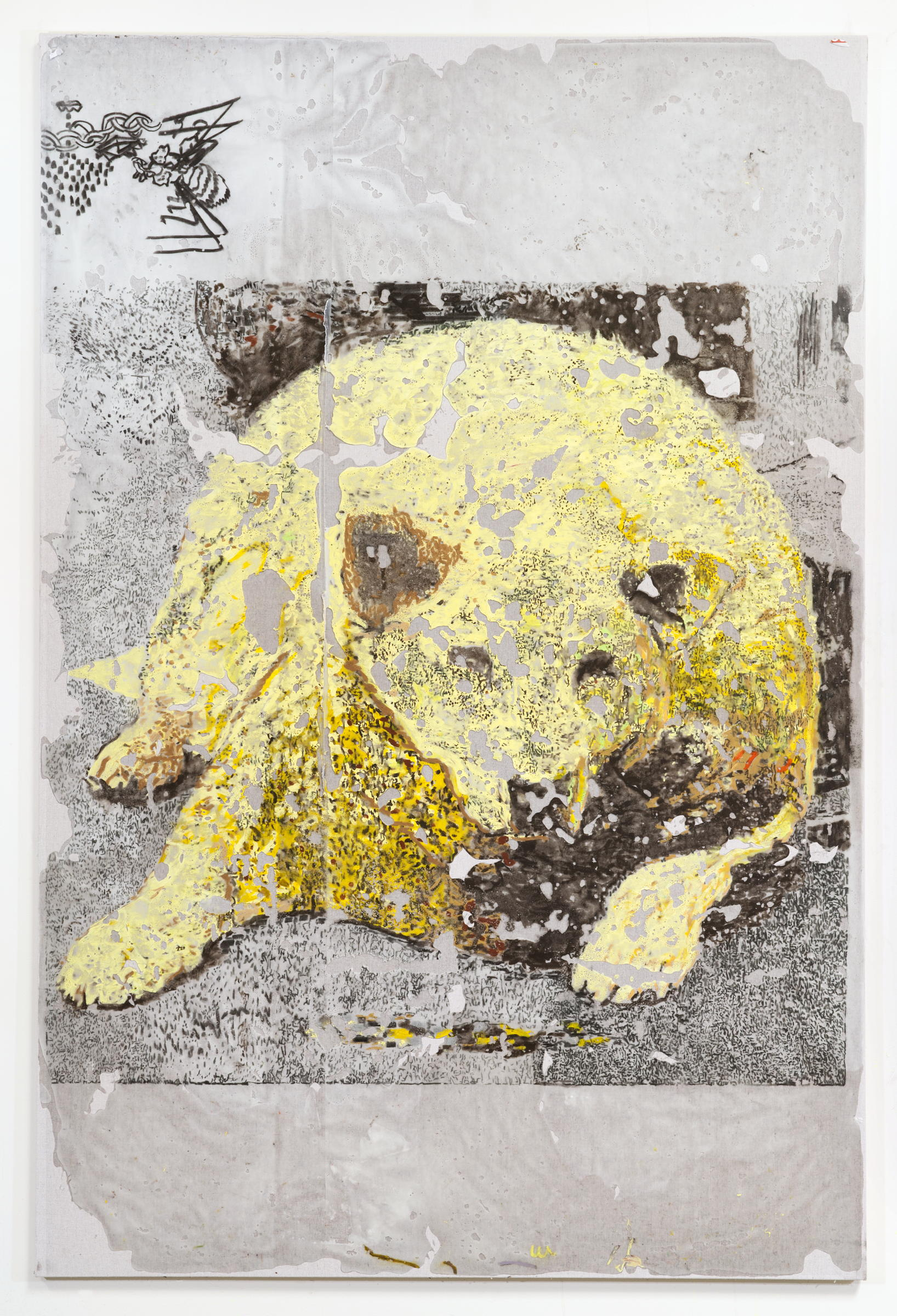 JPW3 ,   Buster , 2018, oil pastel wax on canvas, 72 × 48 in.