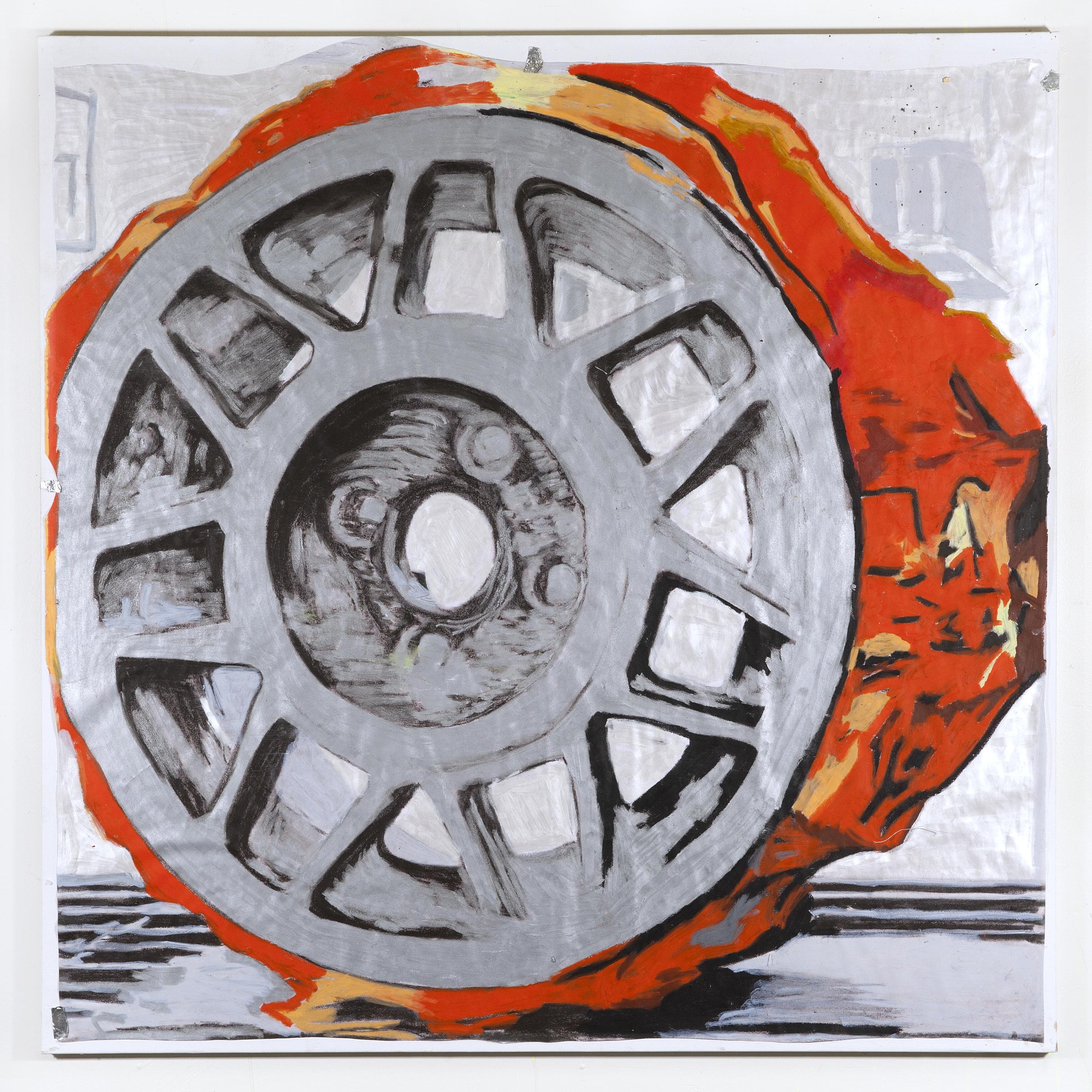 JPW3 ,   Orange Dream , 2018, oil pastel on paper on canvas, 36 × 36 in.