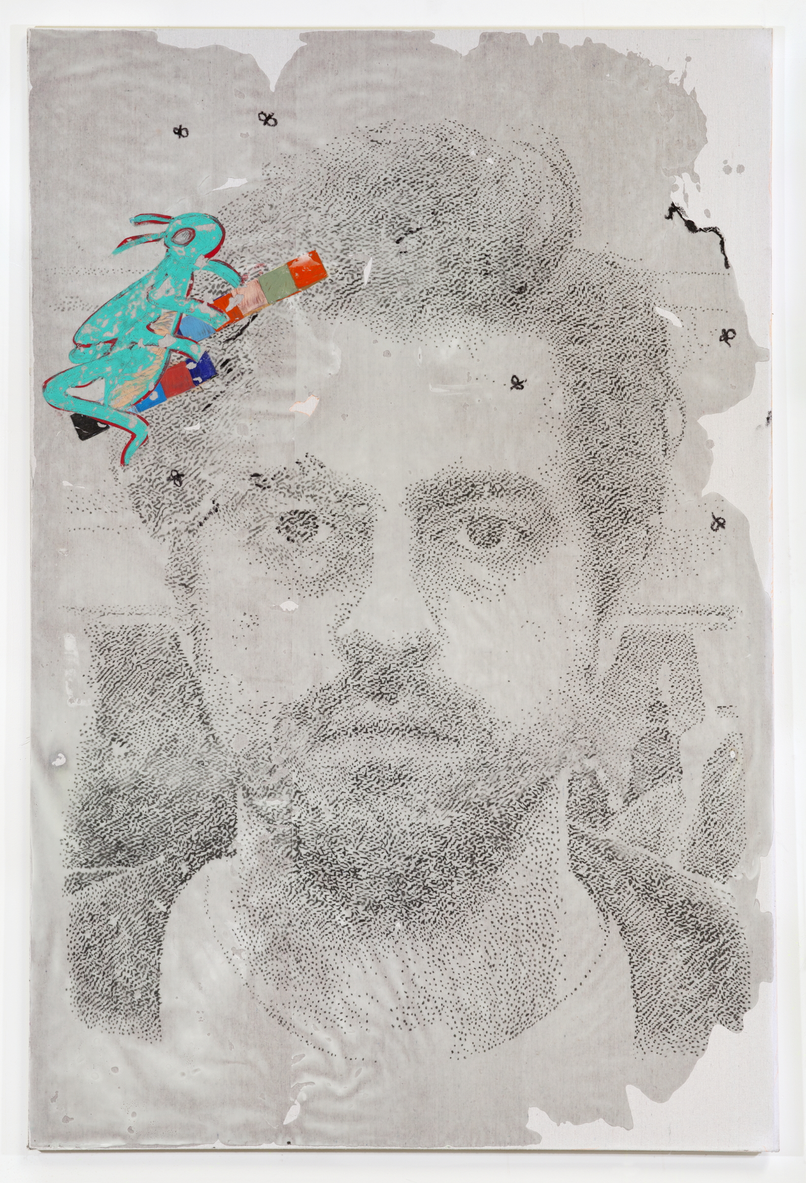 JPW3 ,   self portrait with grasshopper , 2018, charcoal, oil pastel, wax on canvas, 72 × 48 in.
