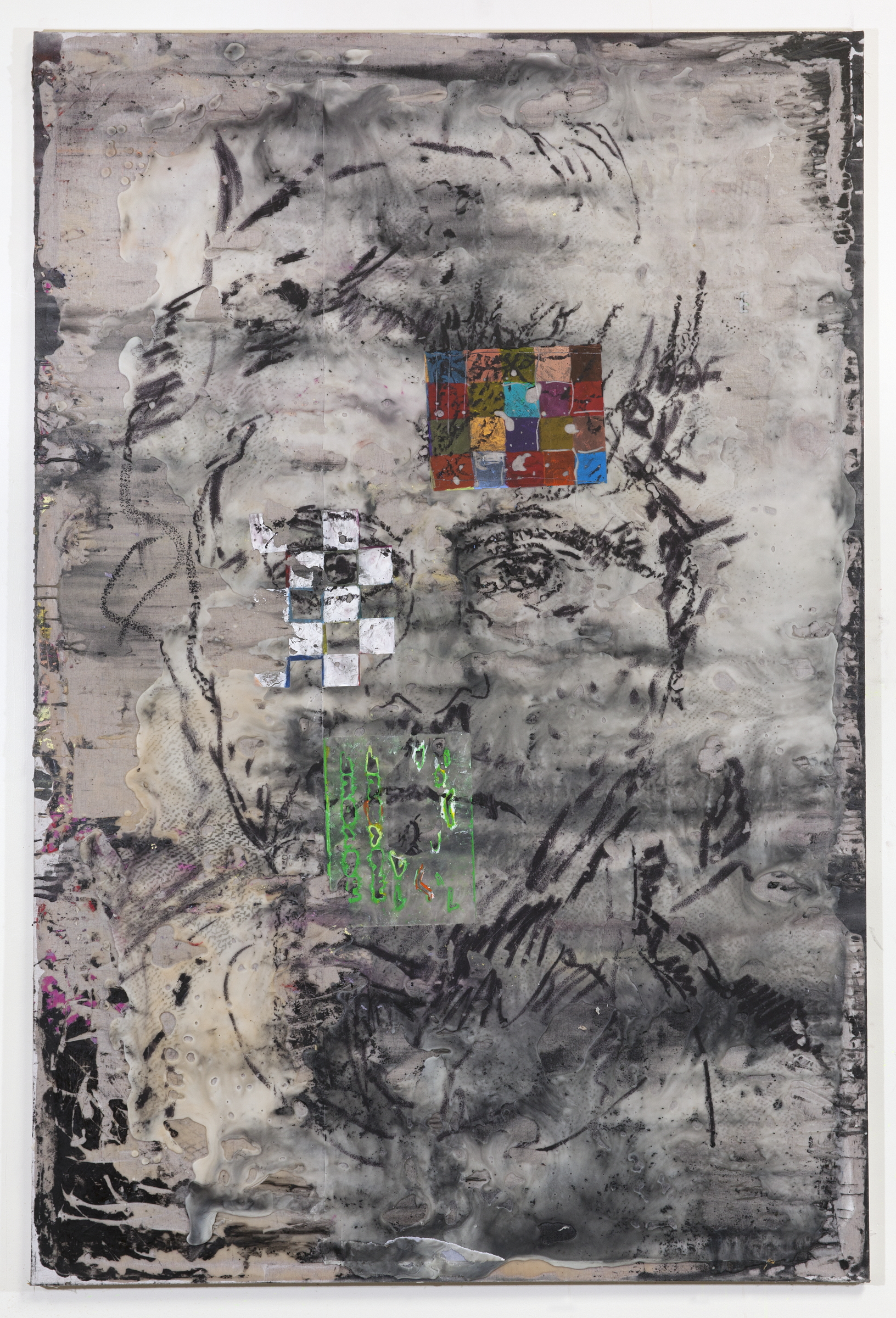 JPW3 ,   self with communication chips , 2018, oil pastel and wax on canvas, 72 × 48 in.
