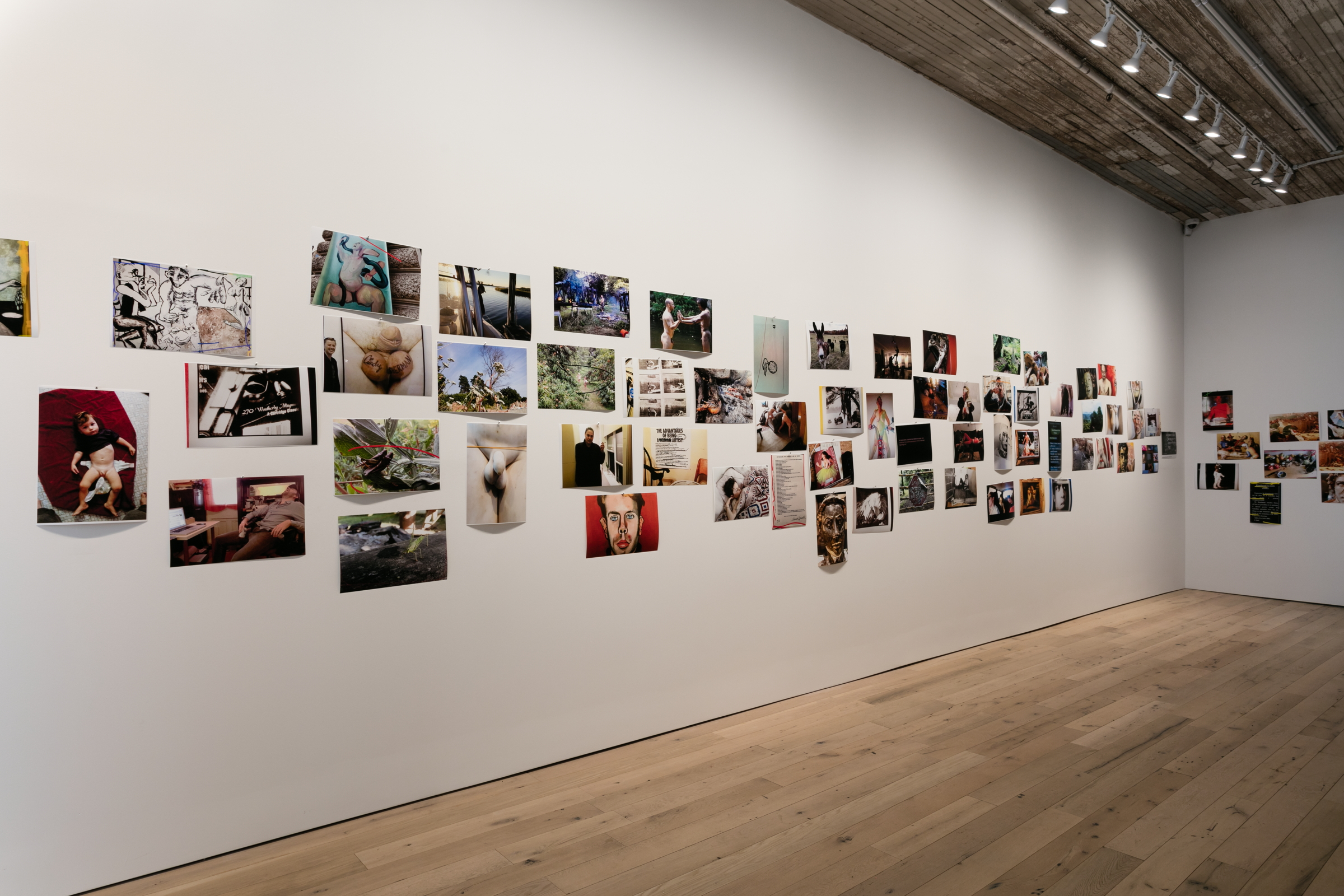 Michel Auder,  And virtually everything said has been said incorrectly, and it's been said wrong, or it's been covered wrong by the press, , 2018, mural of 91 artist-printed photographs, Dimensions variable