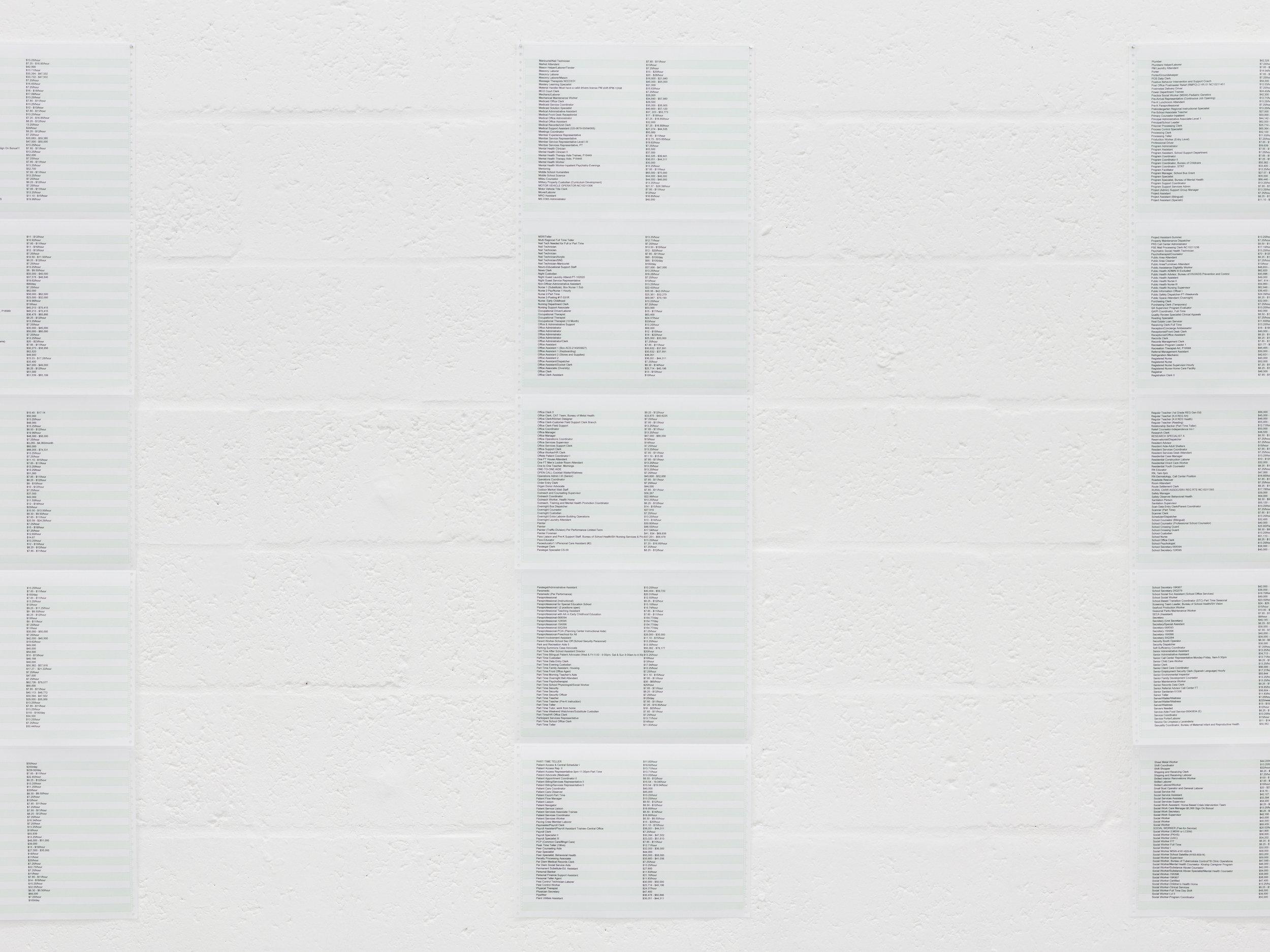 "Jessica Vaughn,  55"" x 15"" , 2018, matrix prints on paper, 6 prints, each: 55 × 15 in."