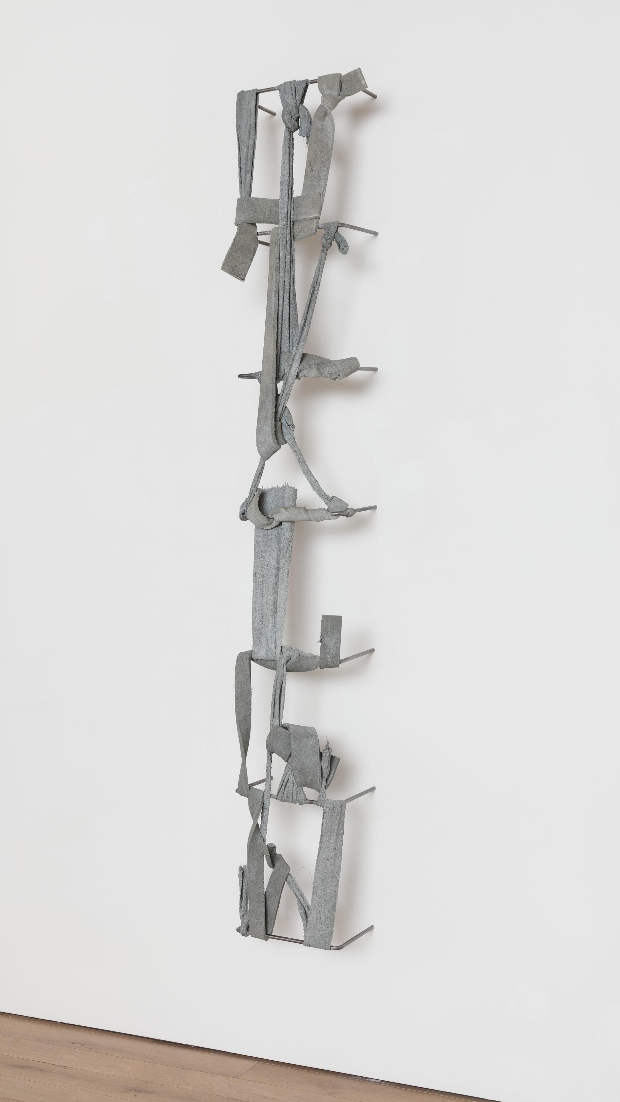 Nikita Gale,  FIXED LOOP V-VI , 2018, concrete, polyurethane foam, terrycloth, steel, 114 1/4 × 18 1/2 × 16 in.