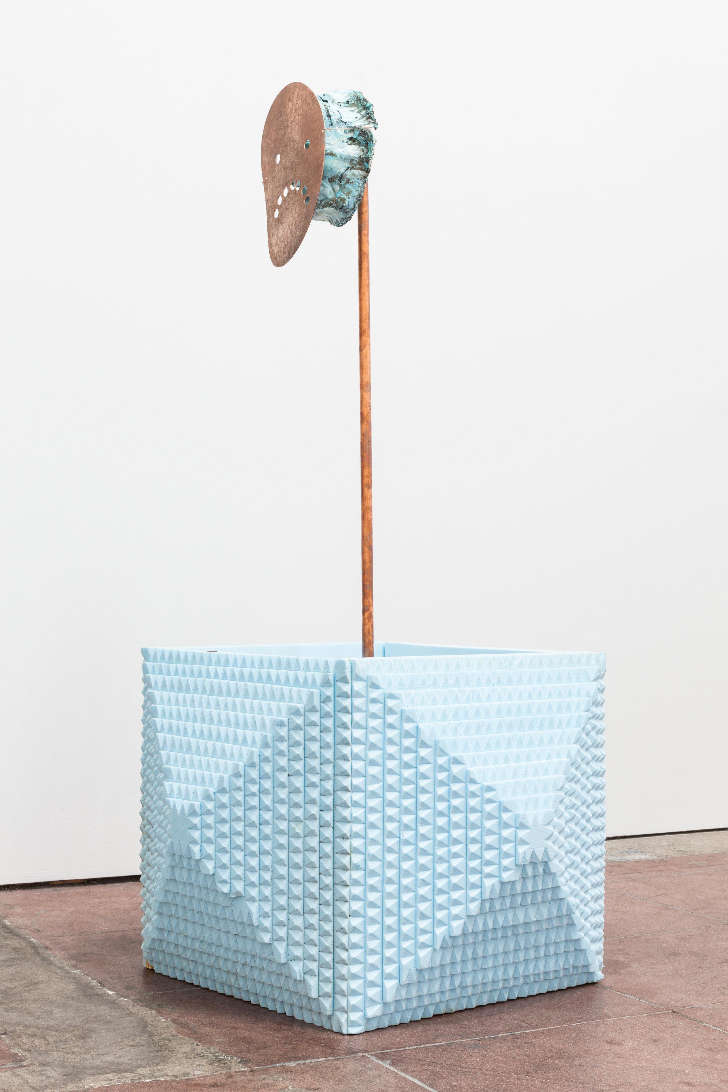 Jory Rabinovitz,    Abe L. as Freddie Mac , 2019, melted pennies, copper, tabby, insulation foam, verdigris pigment, 66 × 37 × 37 inches