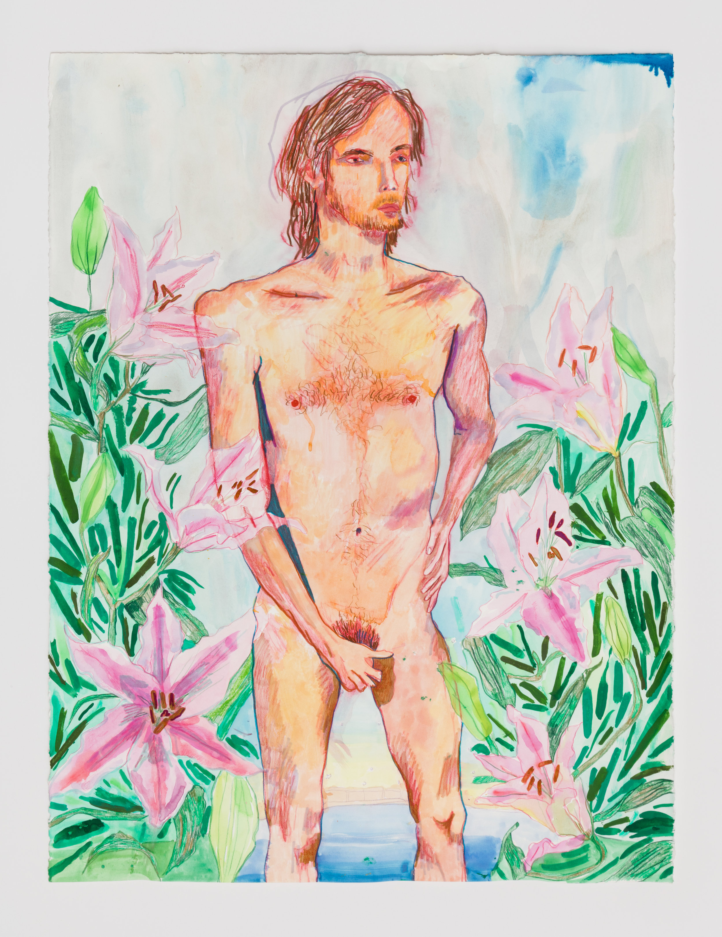 Alex Chaves,  Peter , 2018, ink, paint and pencil on paper, 36 × 26 ¼ in.