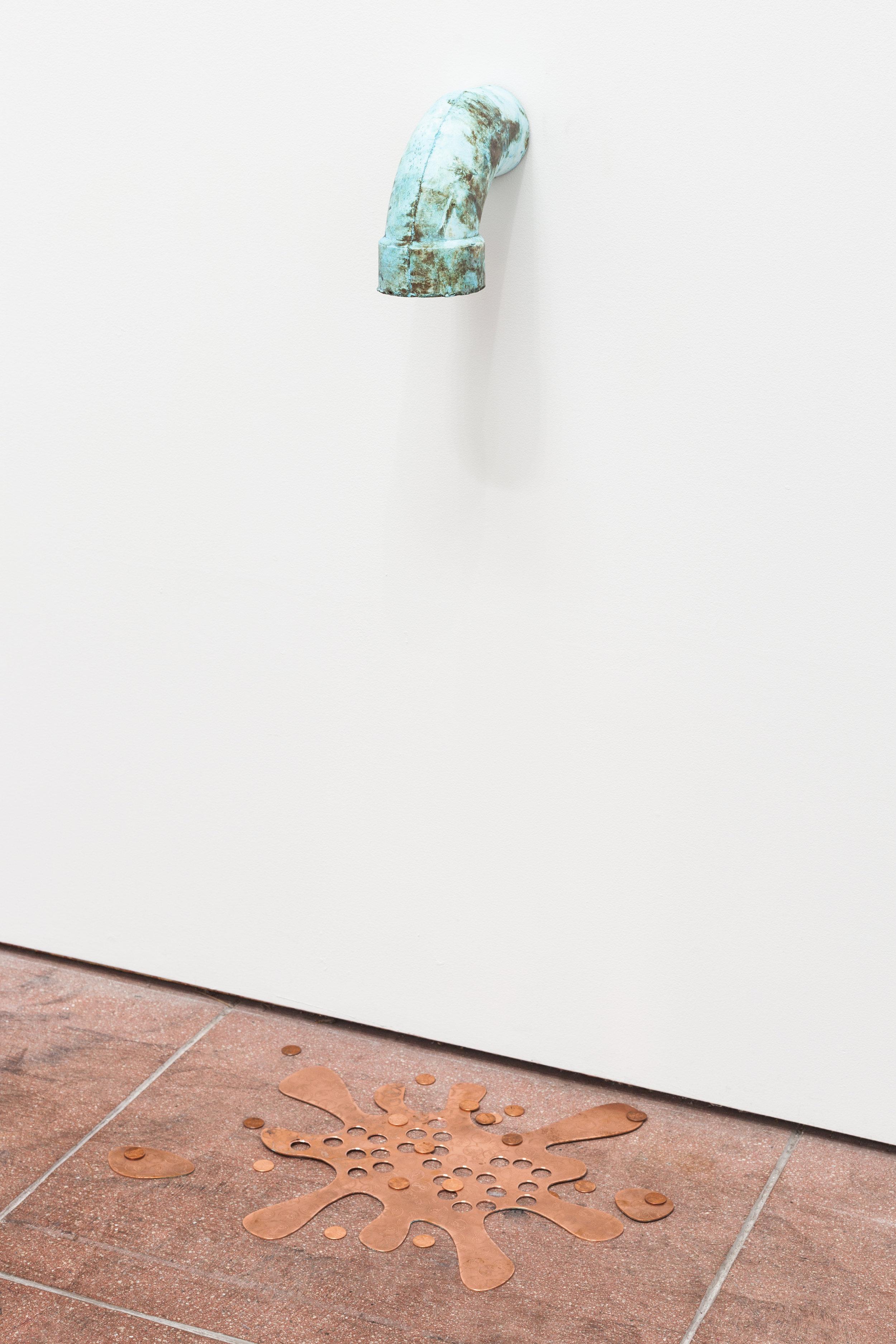 Jory Rabinovitz ,   Love Splat (Copper) , 2019, Tabby, verdigris pigment, melted copper pennies, Dimensions variable