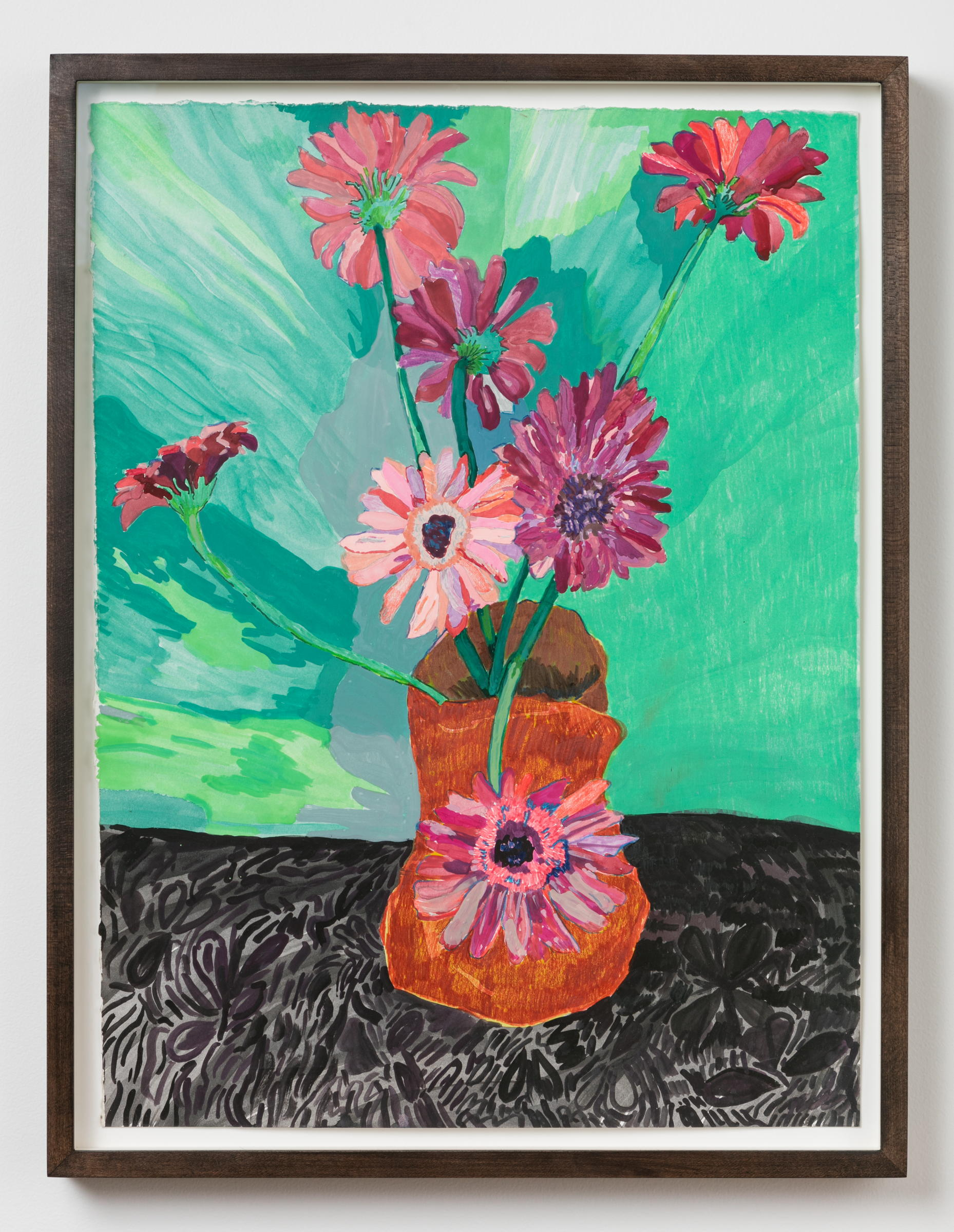 Alex Chaves,  flower still life , 2017, marker, ink, watercolor and pencil on paper, 21 ½ × 16 in.