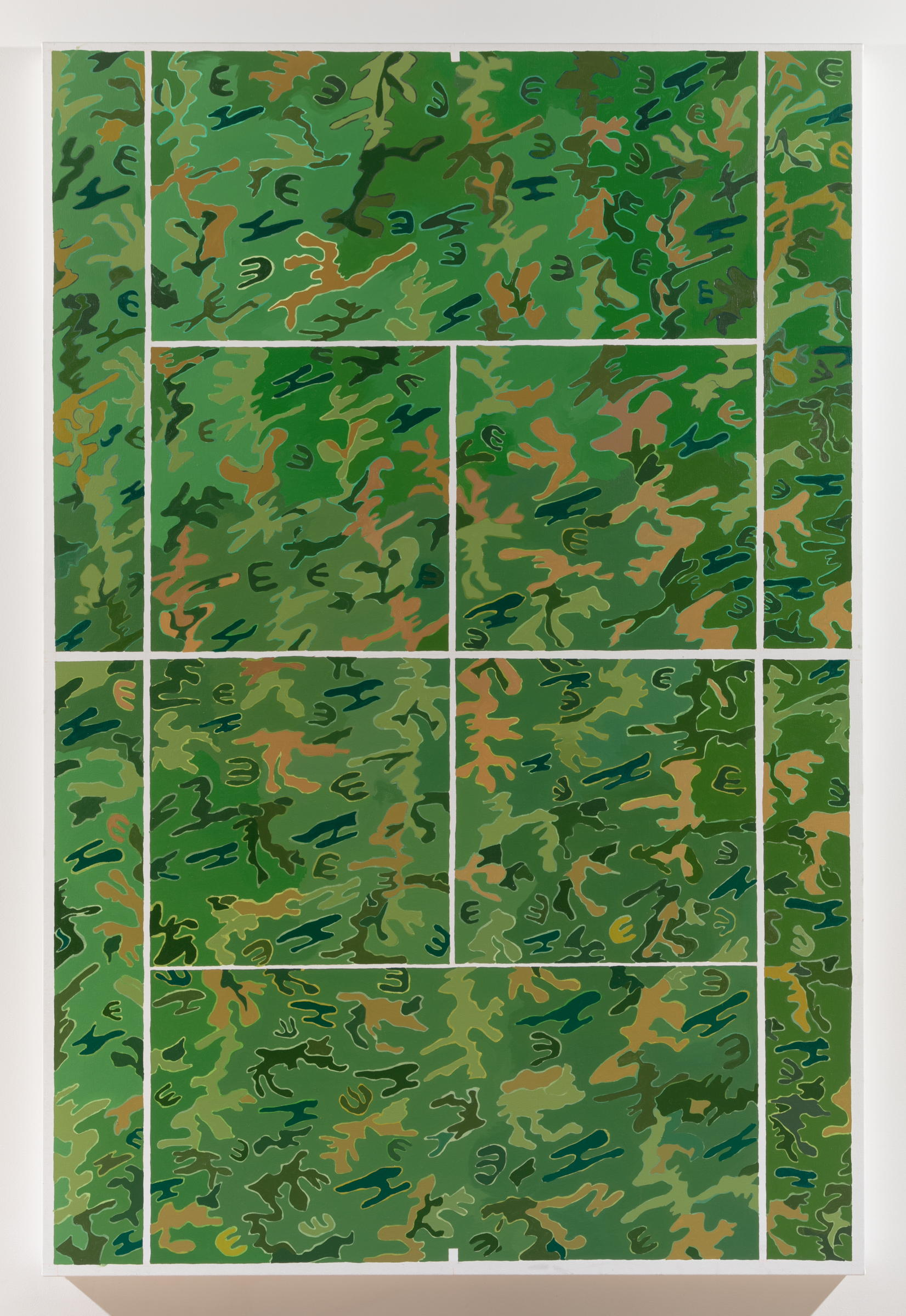 Alex Chaves,  Camo Court , 2017, oil on canvas, 72 × 48 in.