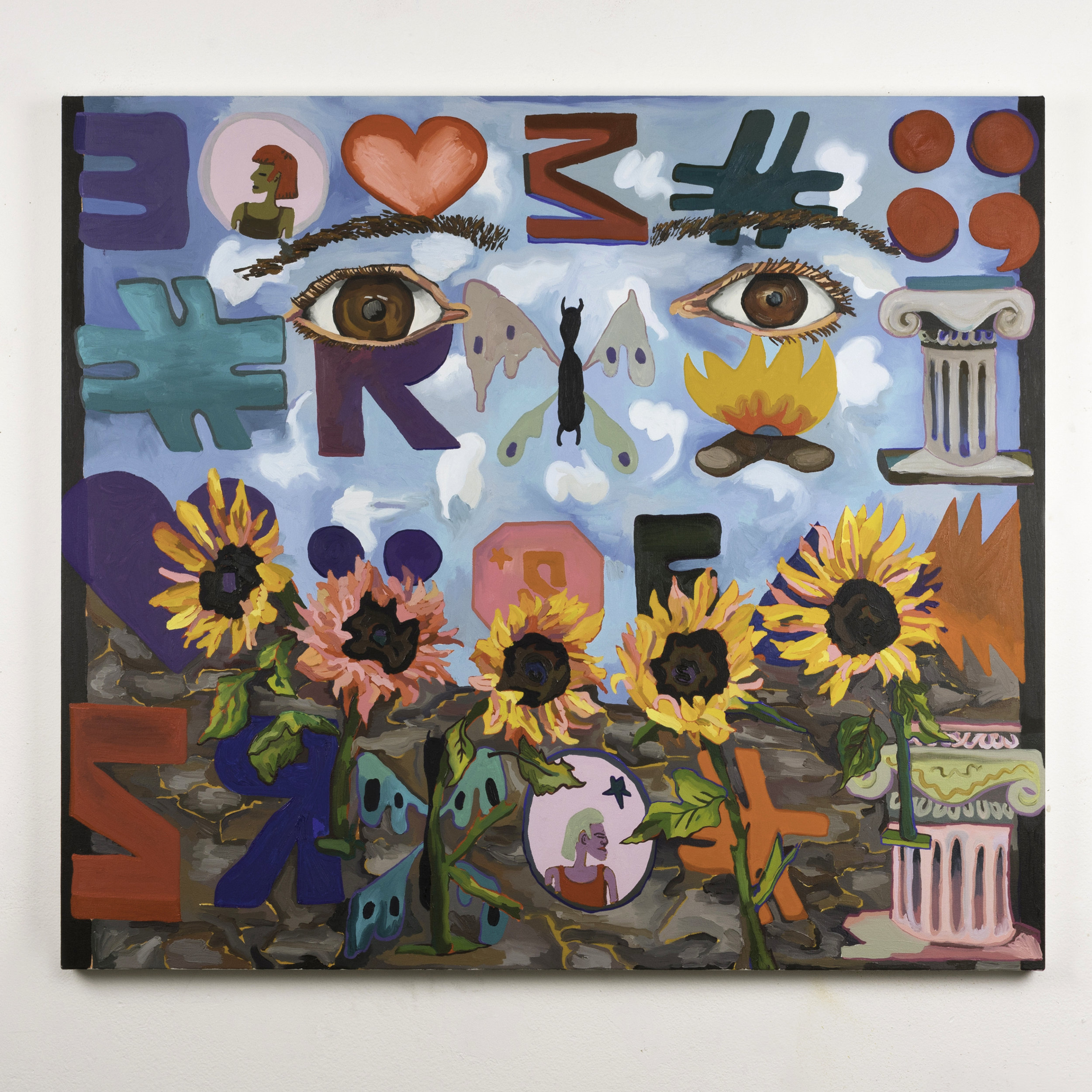 Alex Chaves,  Emoticon, Sunflowers, Eyes , 2018, Oil on canvas, 41 × 46 ½ in.