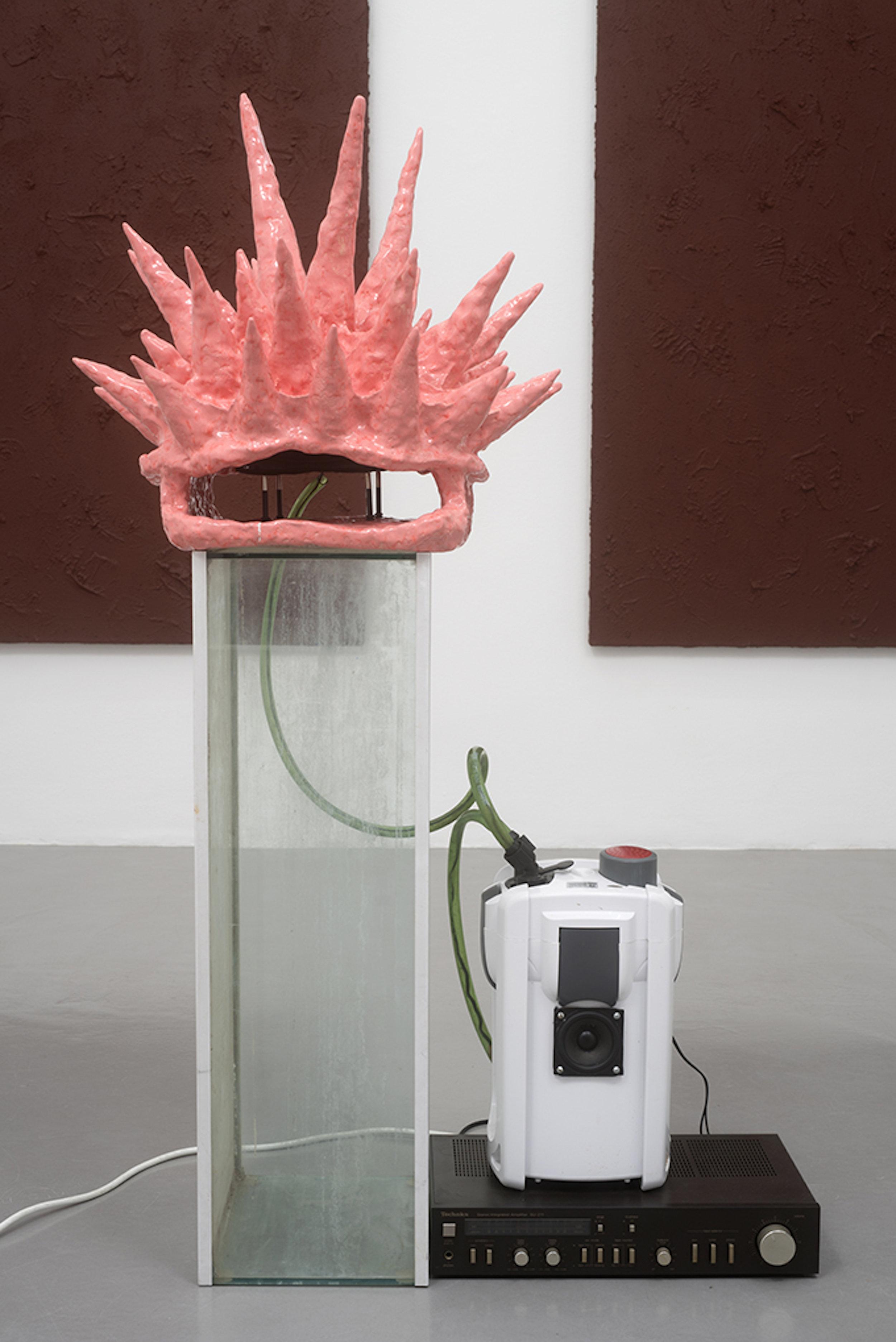 Justin Lieberman,  Turtle/Filter Dialogue 3 (Spomonik) , 2017, glazed ceramic, modified aquarium filter, electronics, sound, 52 × 27 ⅛ × 21 ⅝ in.