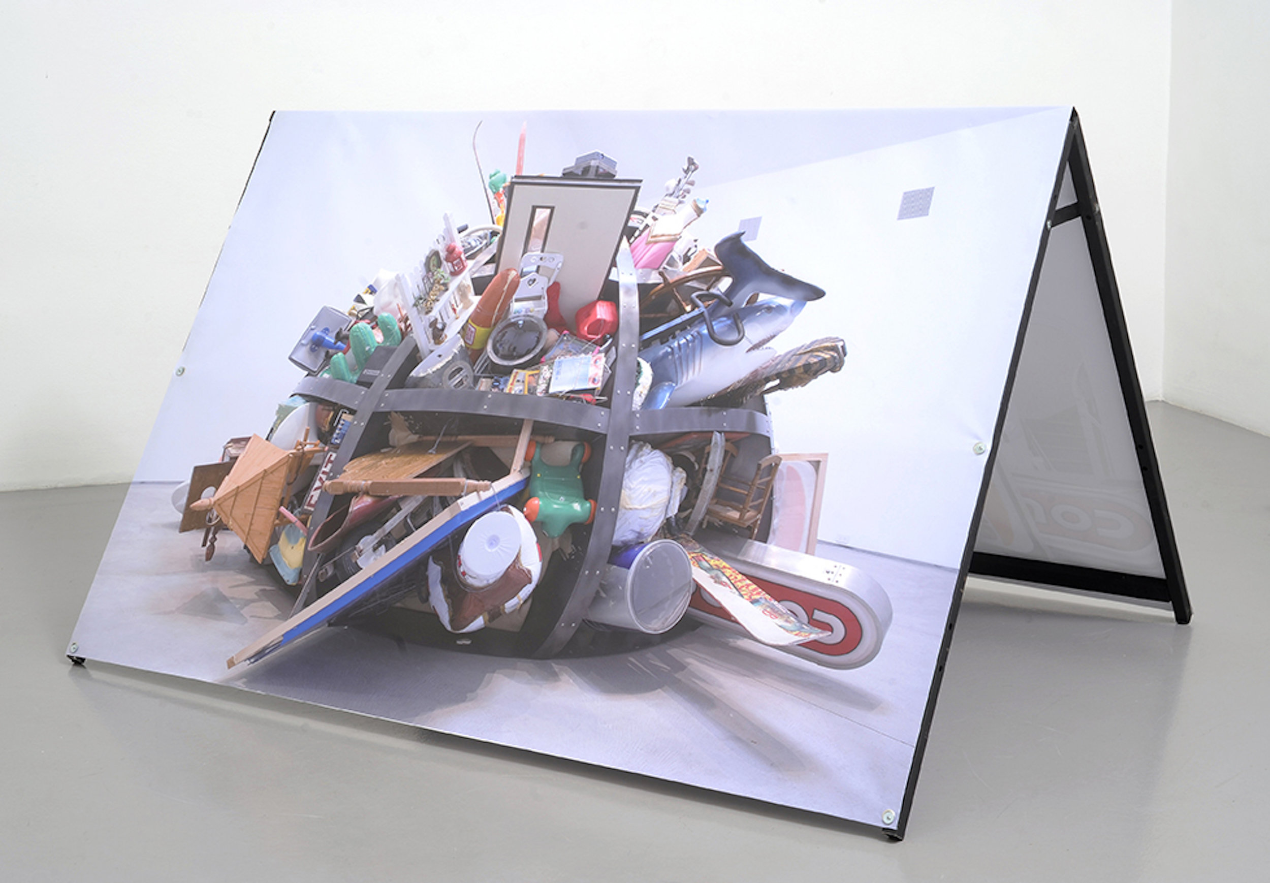 Justin Lieberman,  Economy Model , 2015, with Johnny Woods, steel, inject print on canvas and custom software, 46 ⅛ × 57 ½ × 78 ¾ in.