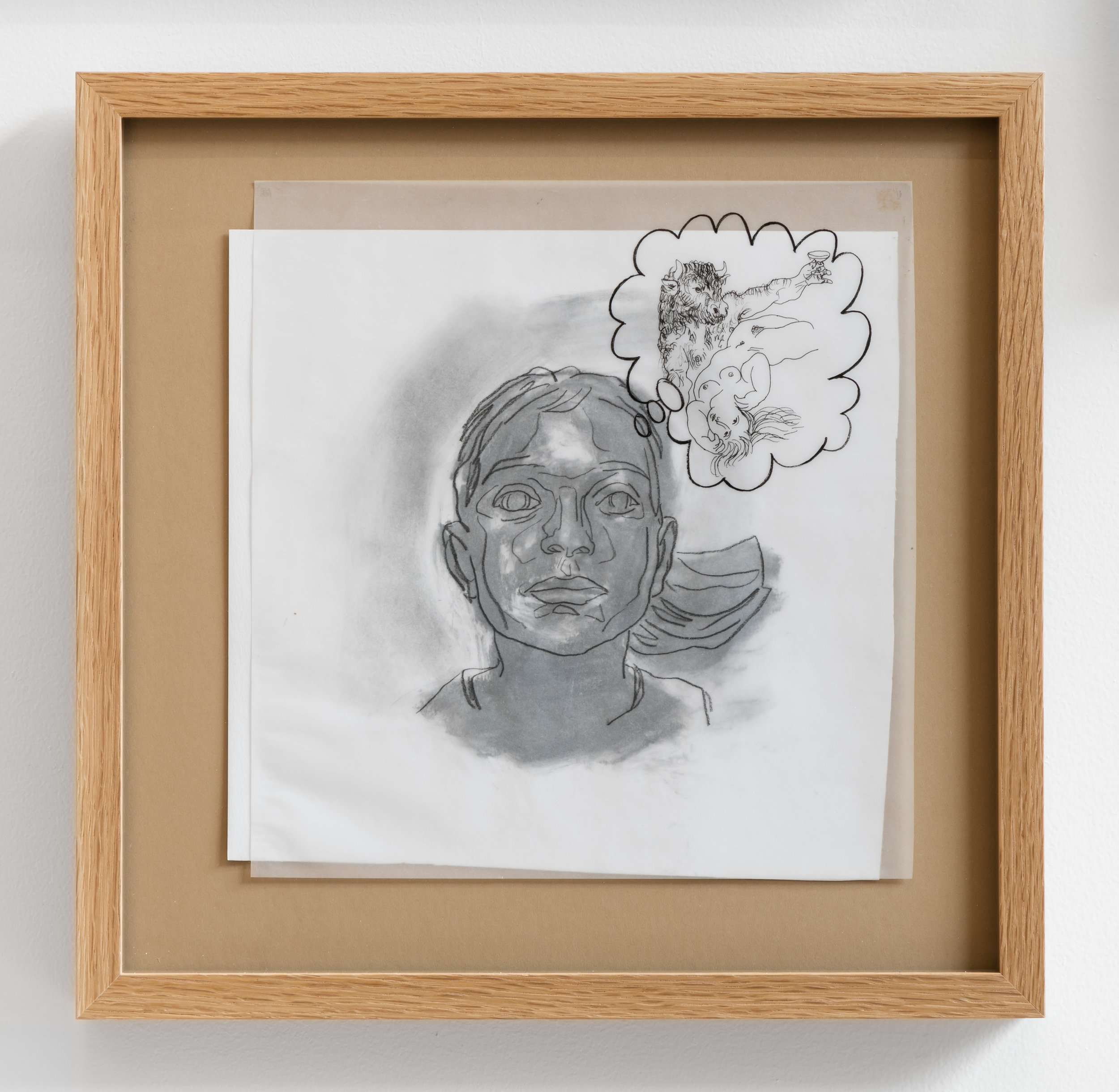 Aura Rosenberg ,   Untitled , 2019, graphite and ink on paper and vellum mounted on archival board, 10 ⅝ × 11 ⅛ inches, 15 ¾ × 16 in.