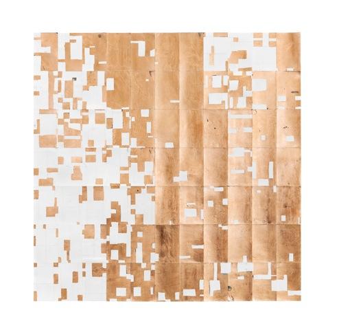 Agnes Lux,  #L-8-Q , 2013, postcards, graphite, copper, 38.6 × 38.6 in.