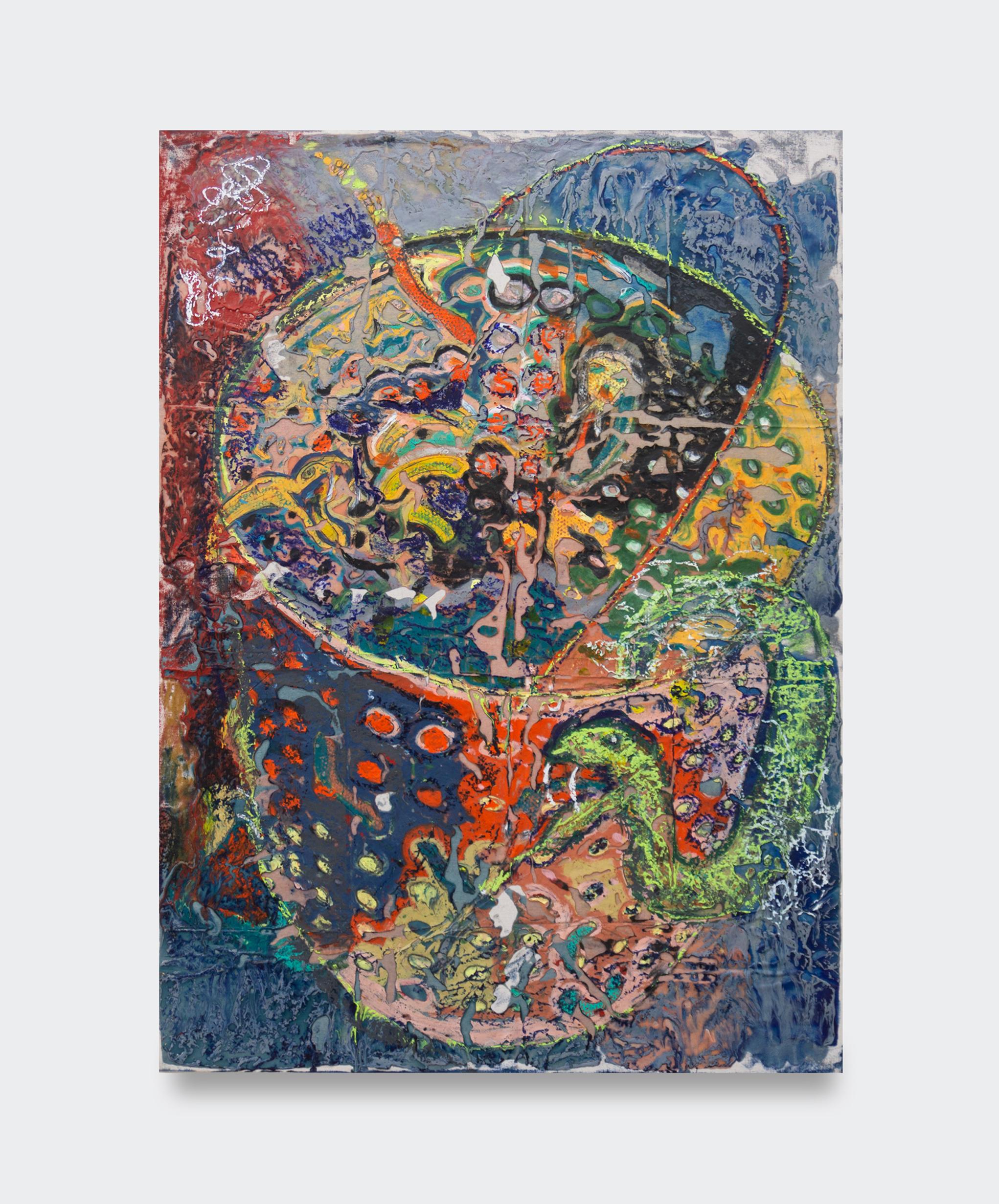 JPW3,  RATTLE BUCKET , 2019, oil pastel, wax and enamel on canvas, 48 × 36 ¼ in.